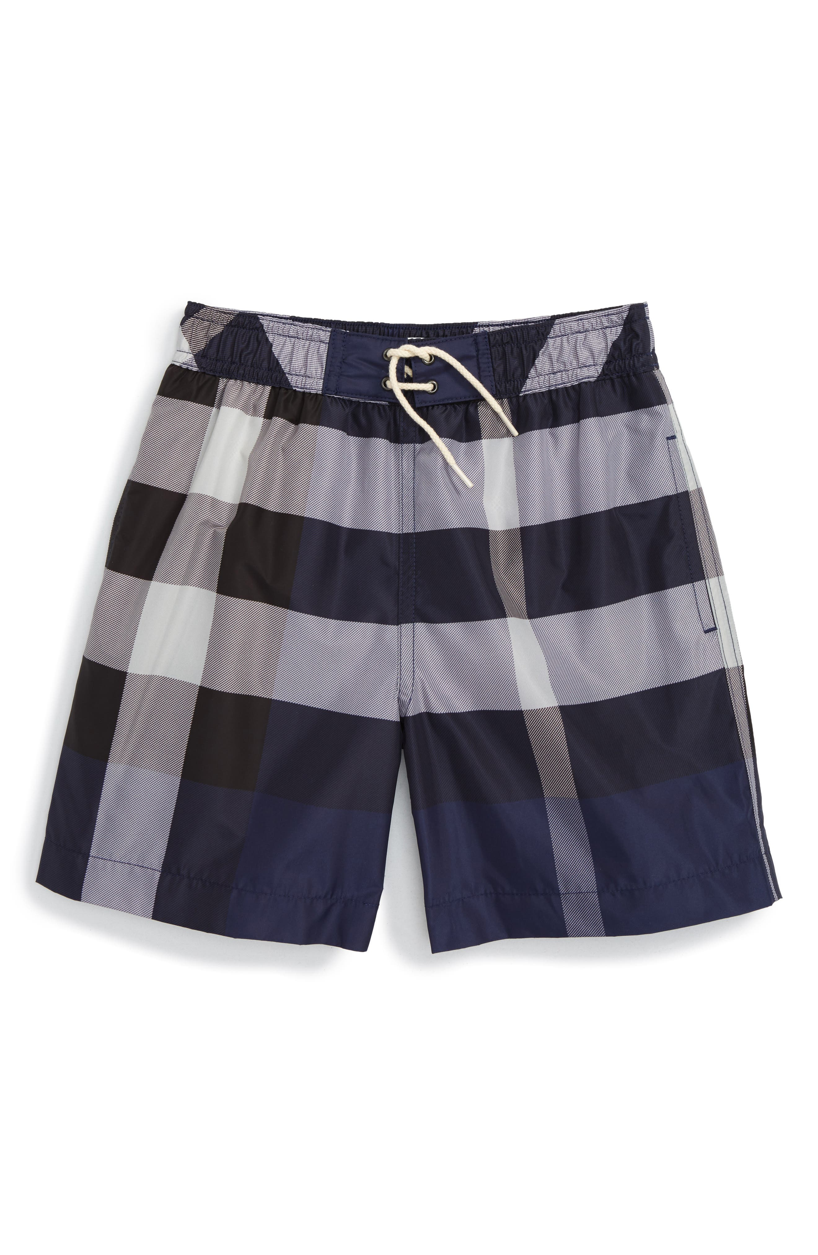 BURBERRY 'Mini Jeffries' Swim Trunks