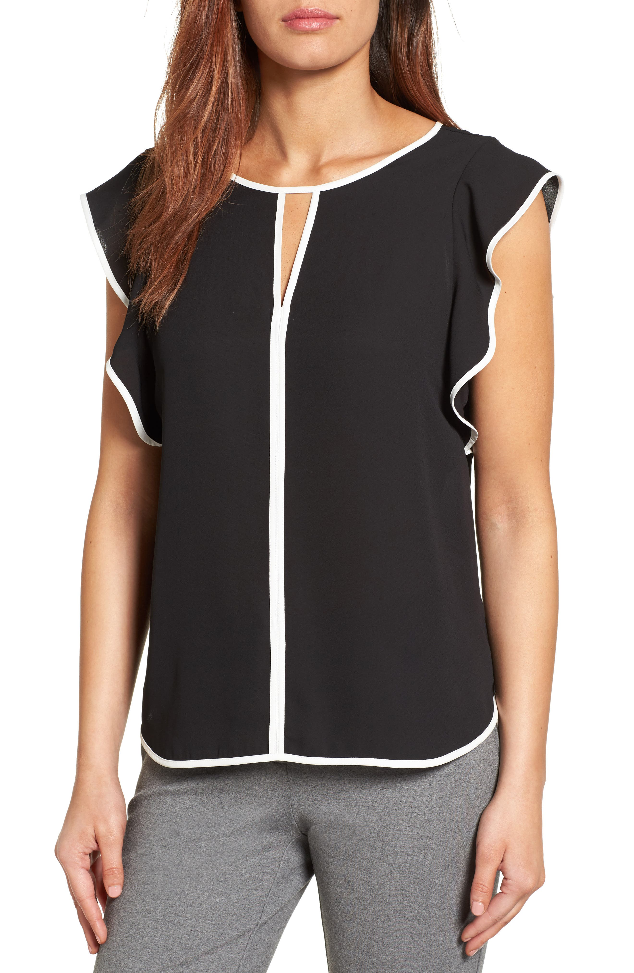 Alternate Image 1 Selected - Vince Camuto Contrast Piped Keyhole Blouse (Regular & Petite)