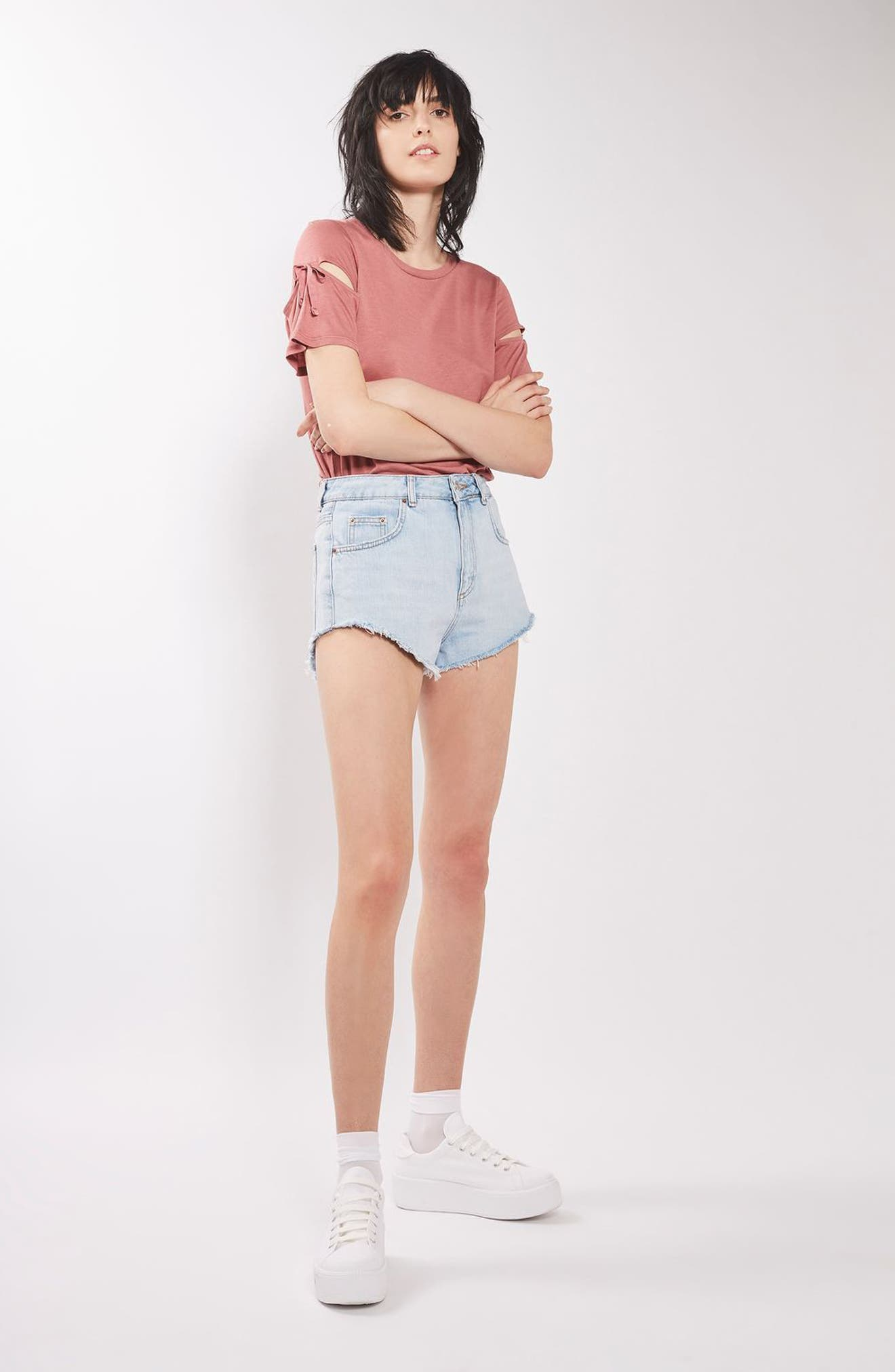 Alternate Image 2  - Topshop Ribbon Sleeve Tee