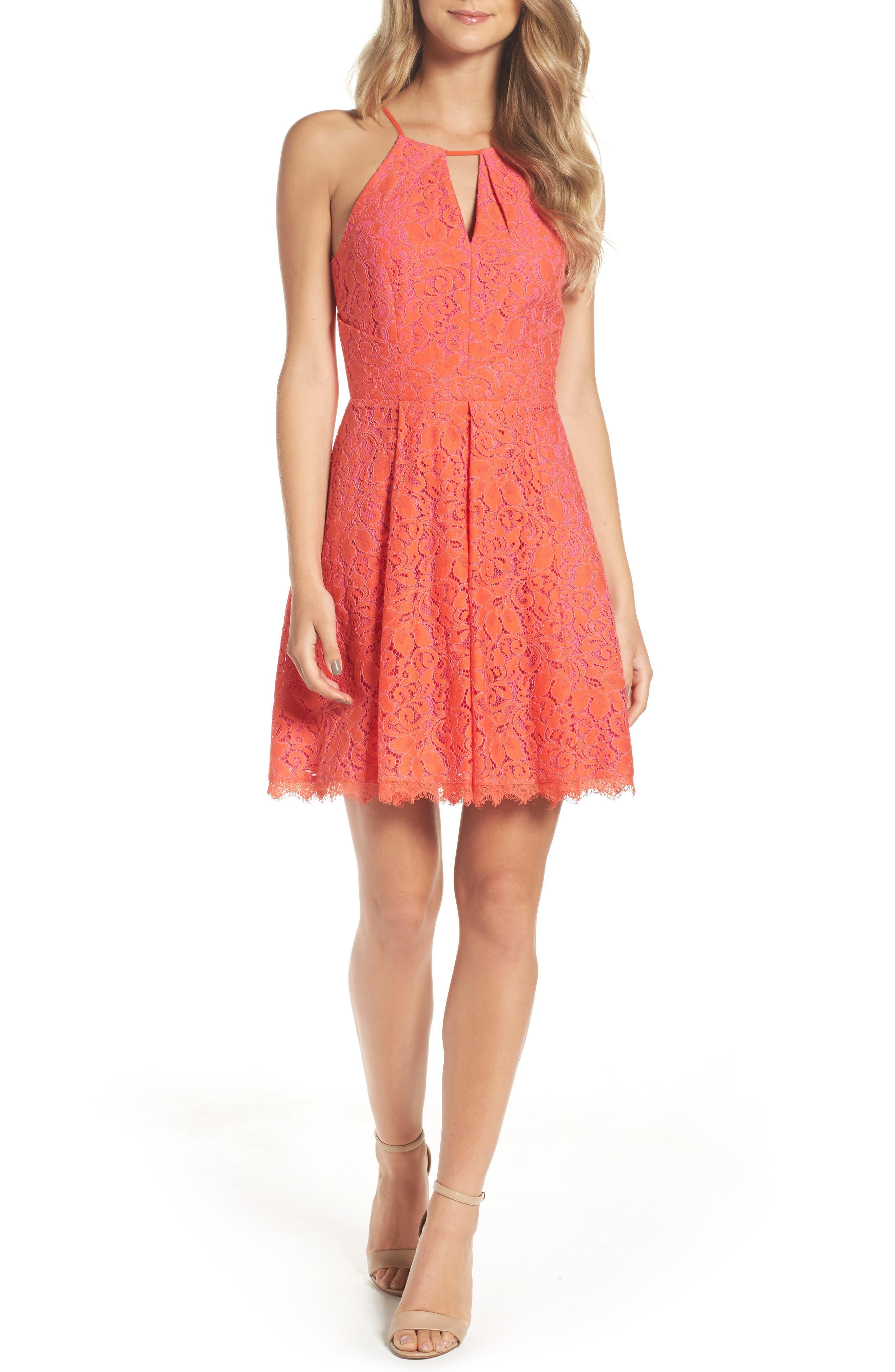 Adelyn Rae Renée Lace Fit & Flare Dress