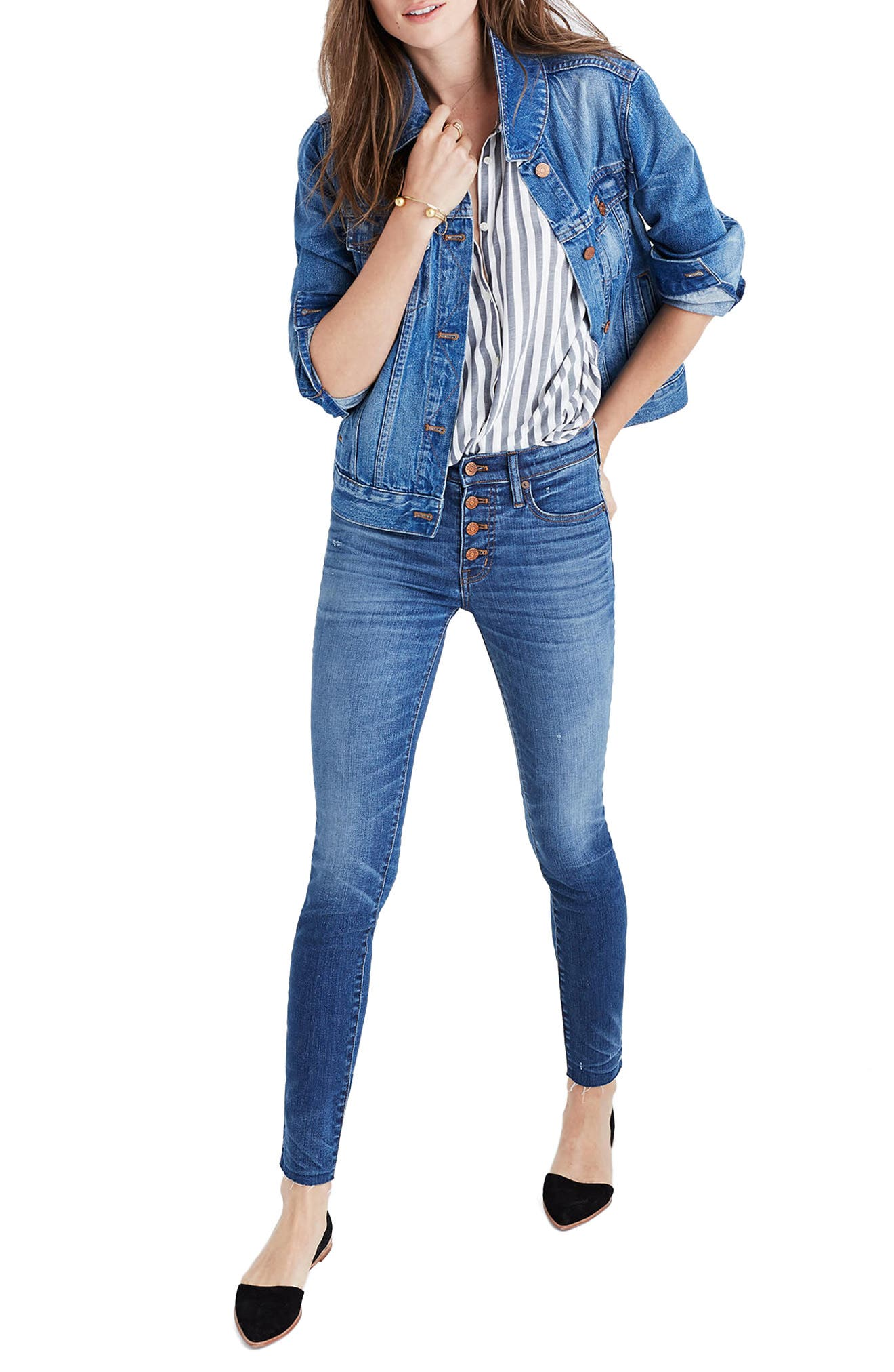 Alternate Image 1 Selected - Madewell High Waist Skinny Jeans: Button-Through Edition (Rizzo Wash)