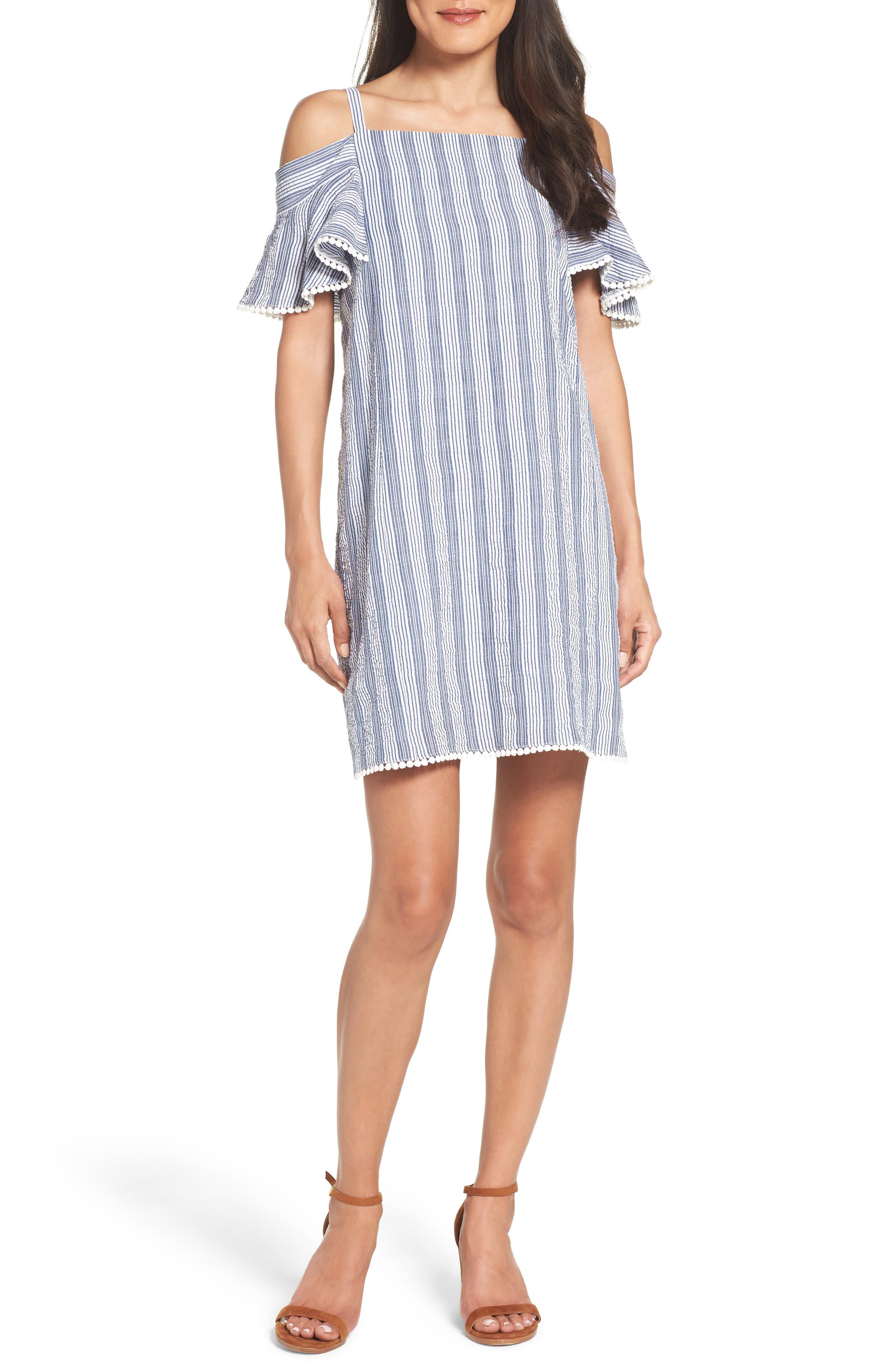 Maggy London Cold Shoulder Seersucker Dress