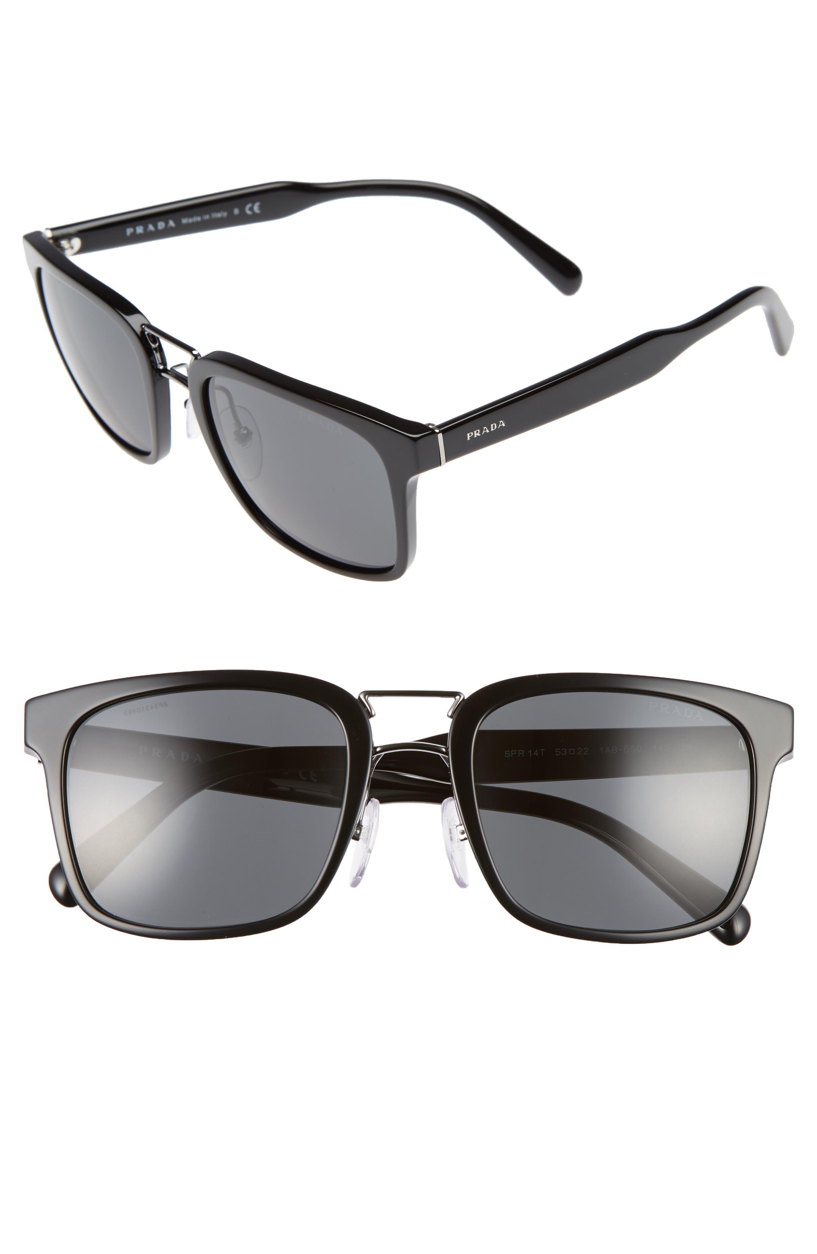 Prada 53mm Rectangle Sunglasses