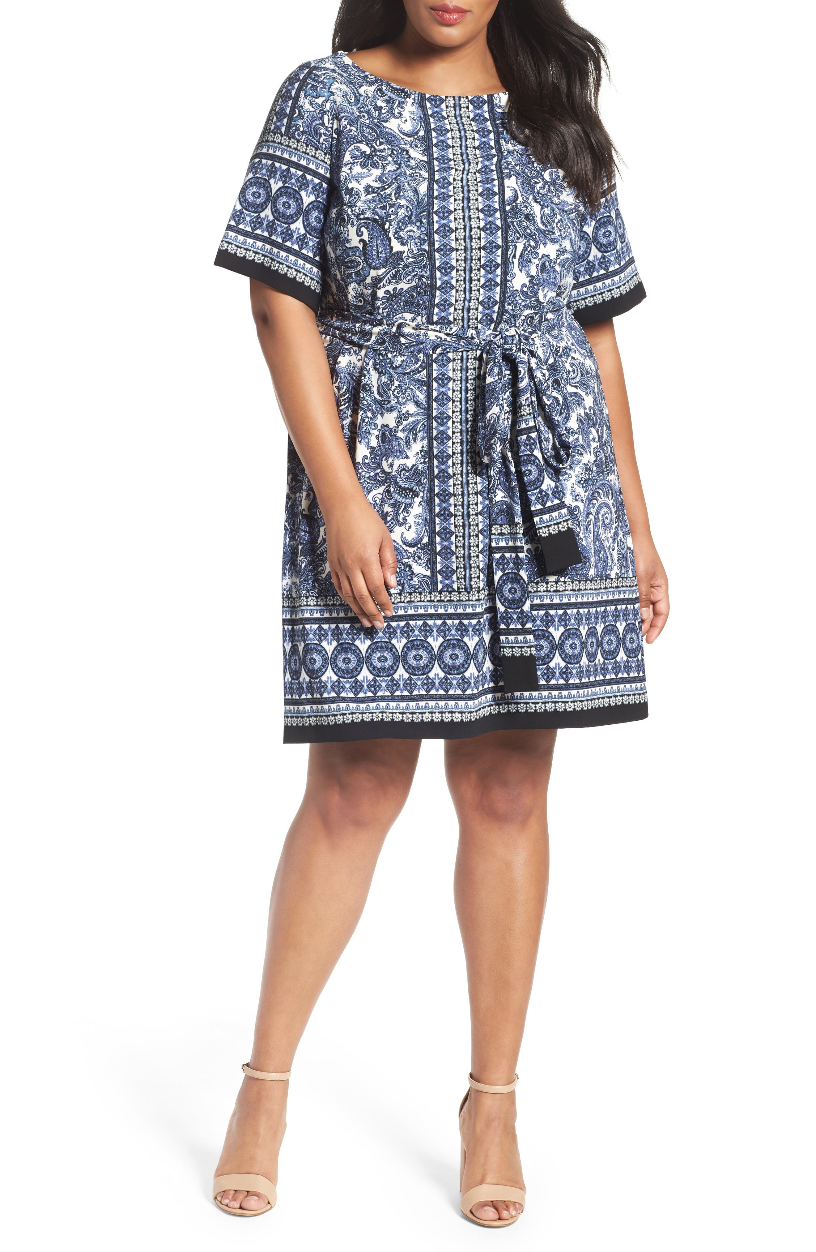 Gabby Skye Sash Tie Print Crepe Shift Dress (Plus Size)