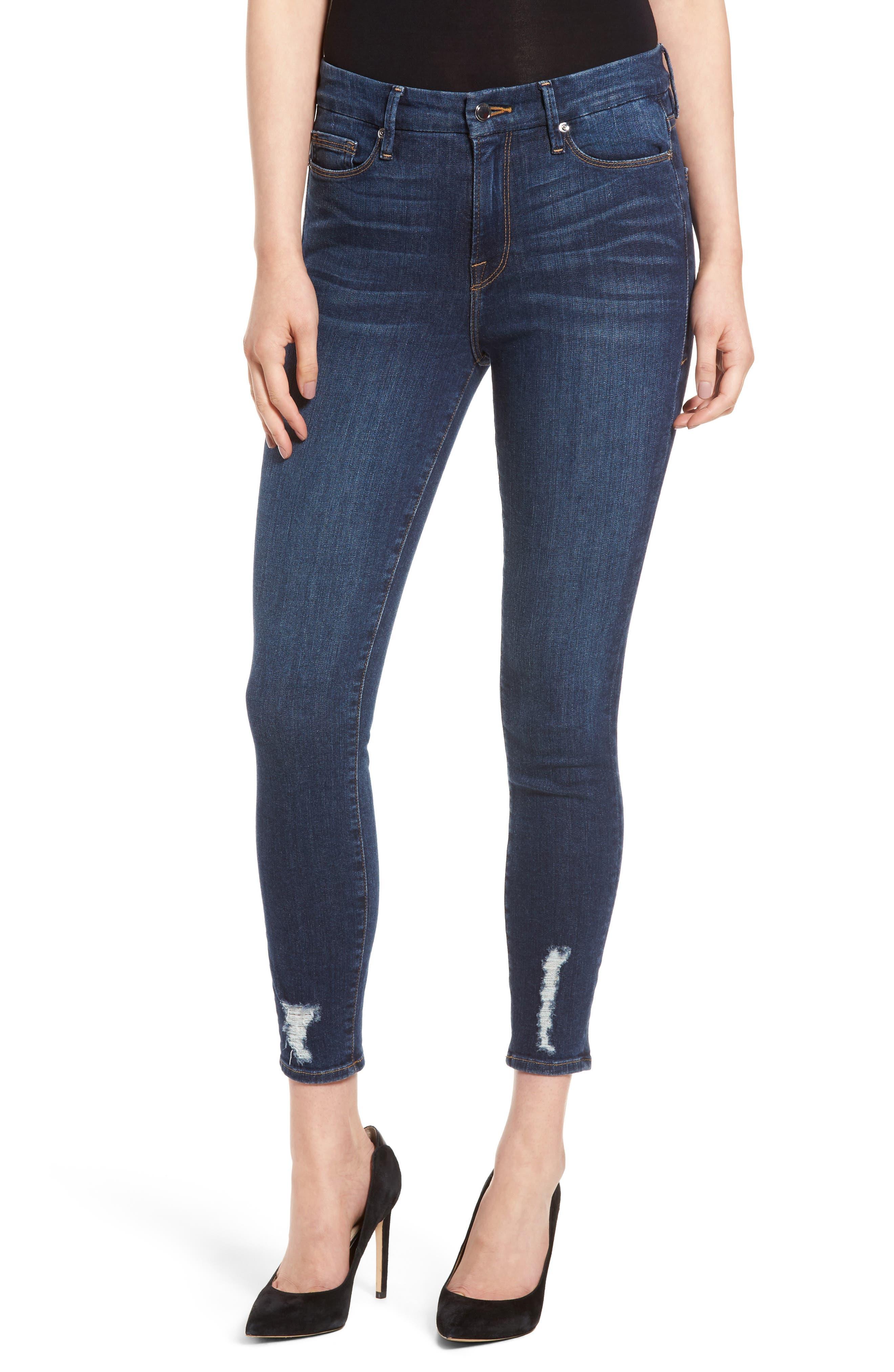 Good American Good Legs High Rise Crop Skinny Jeans (Blue 047)