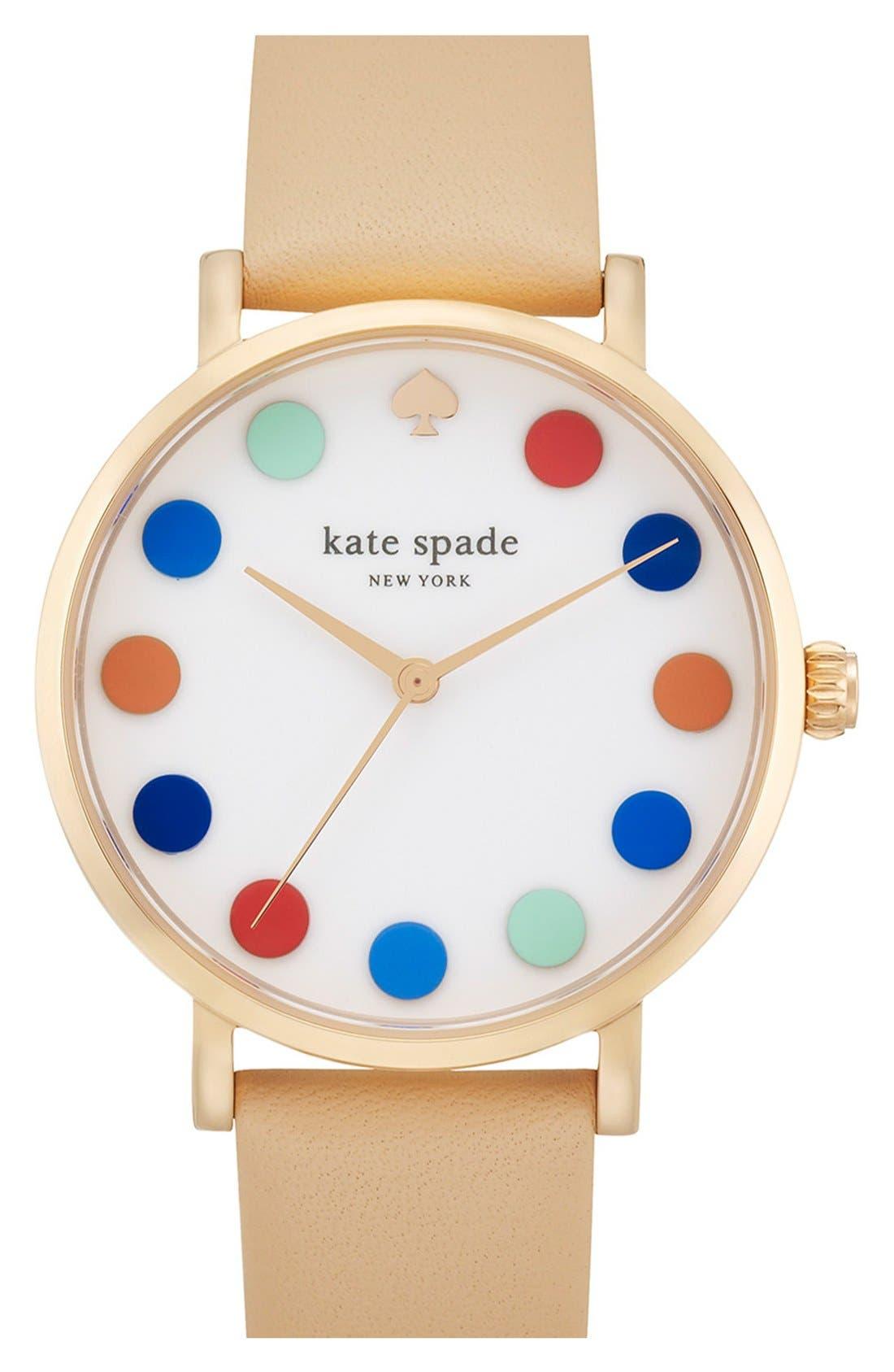 Main Image - kate spade new york 'metro' dot dial leather strap watch, 34mm