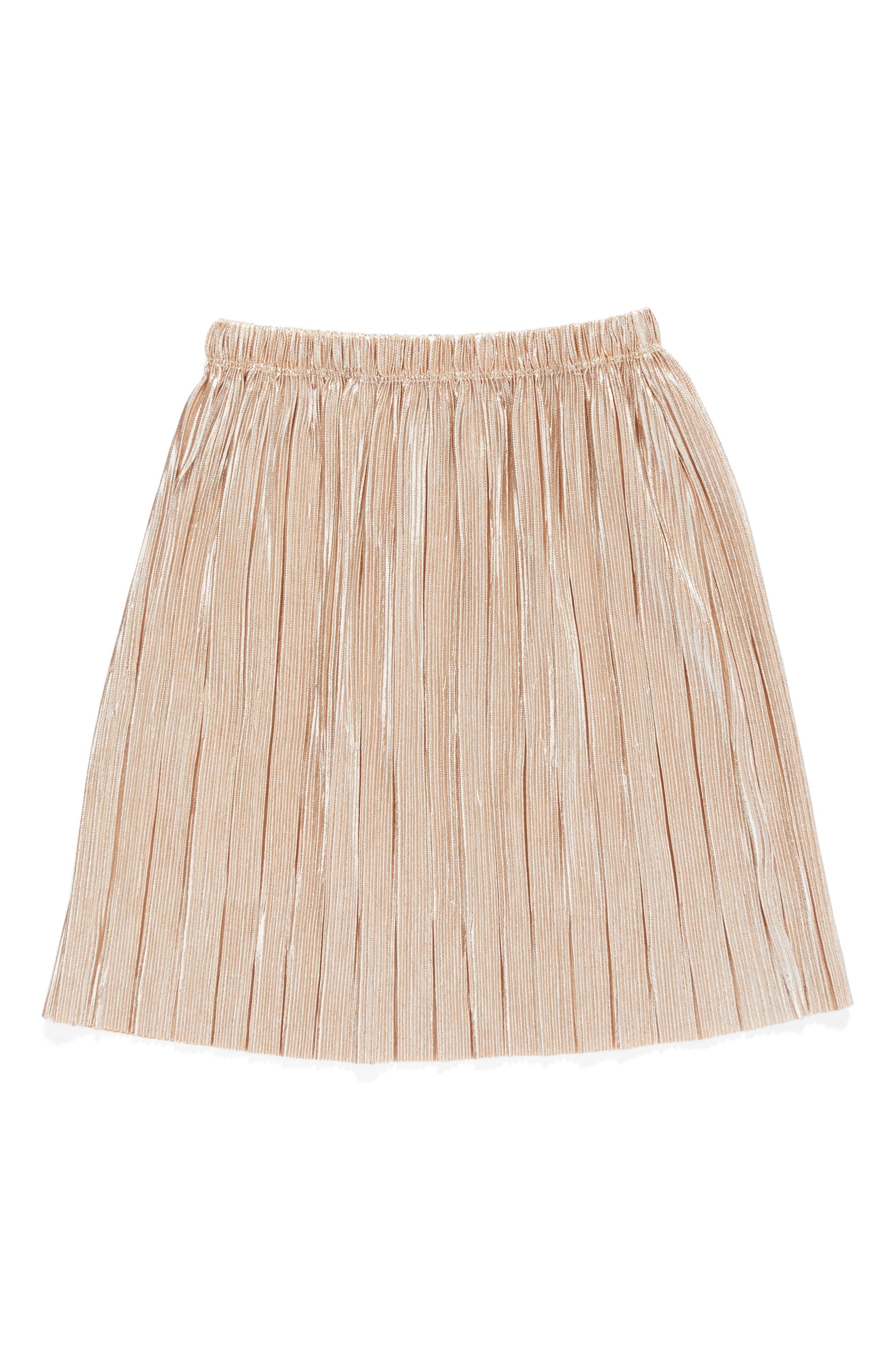 Main Image - Truly Me Metallic Pleated Skirt (Toddler Girls & Little Girls)
