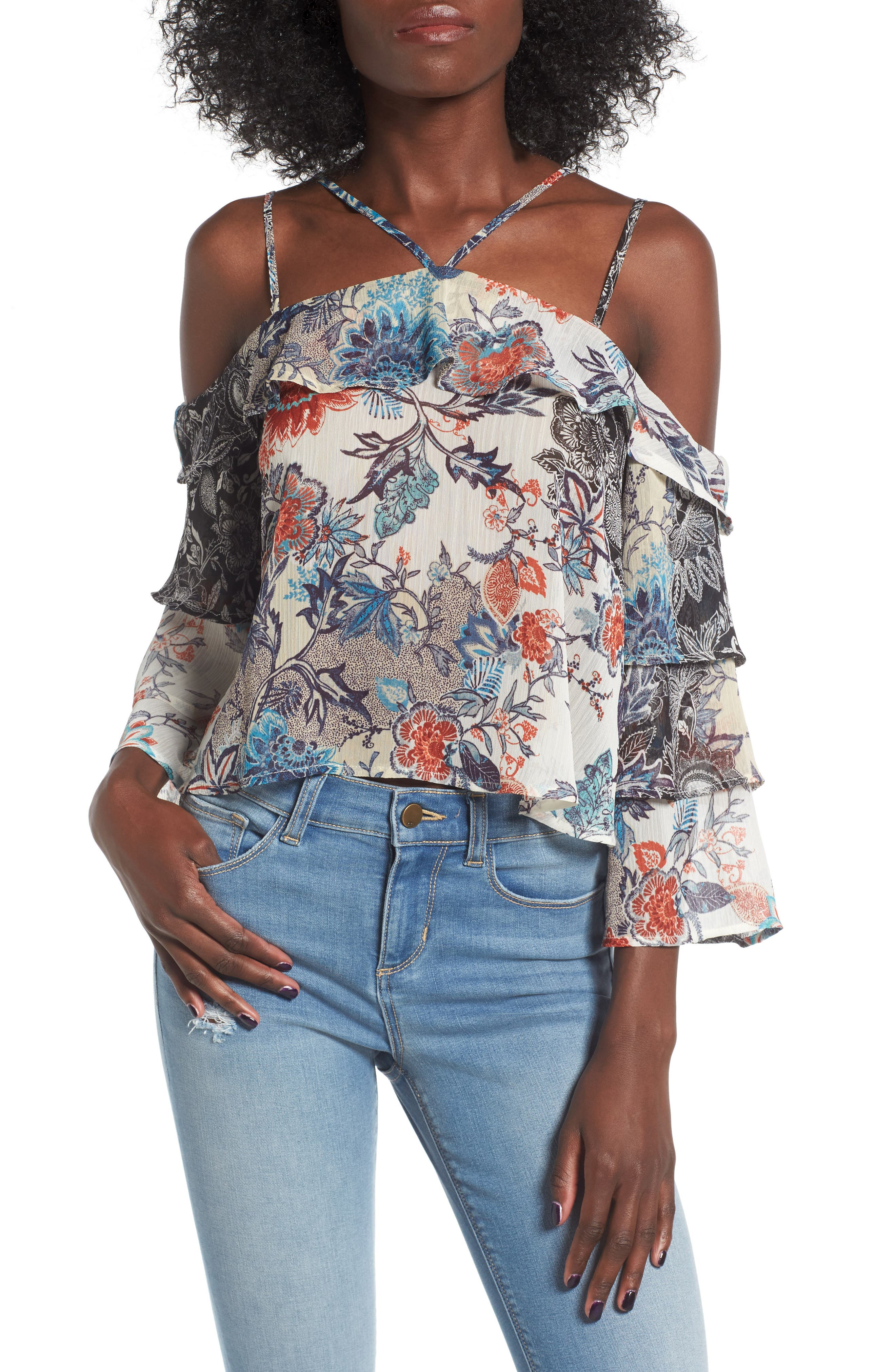 Love, Fire Ruffle Cold Shoulder Blouse