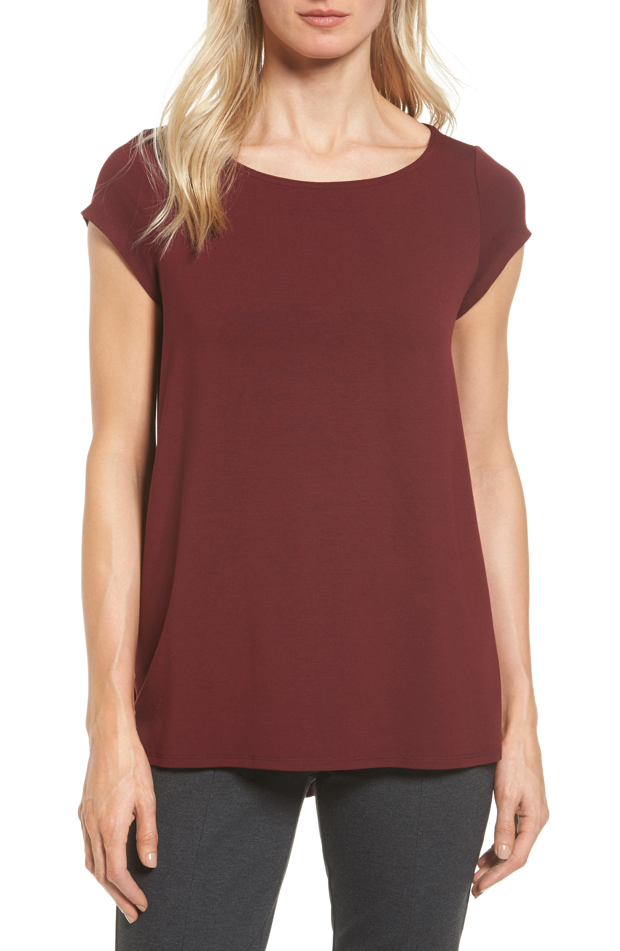 Eileen Fisher Bateau Neck High/Low Tee (Regular & Petite)
