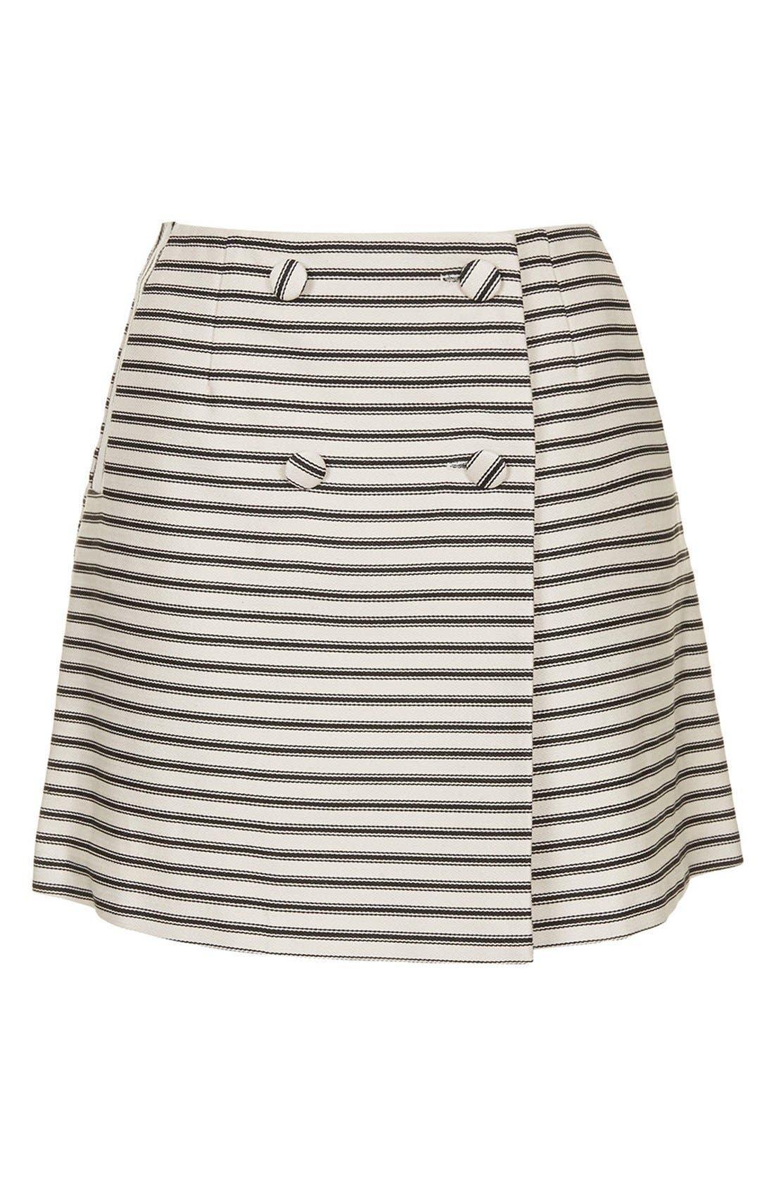 Alternate Image 3  - Topshop Stripe Button Wrap Skirt
