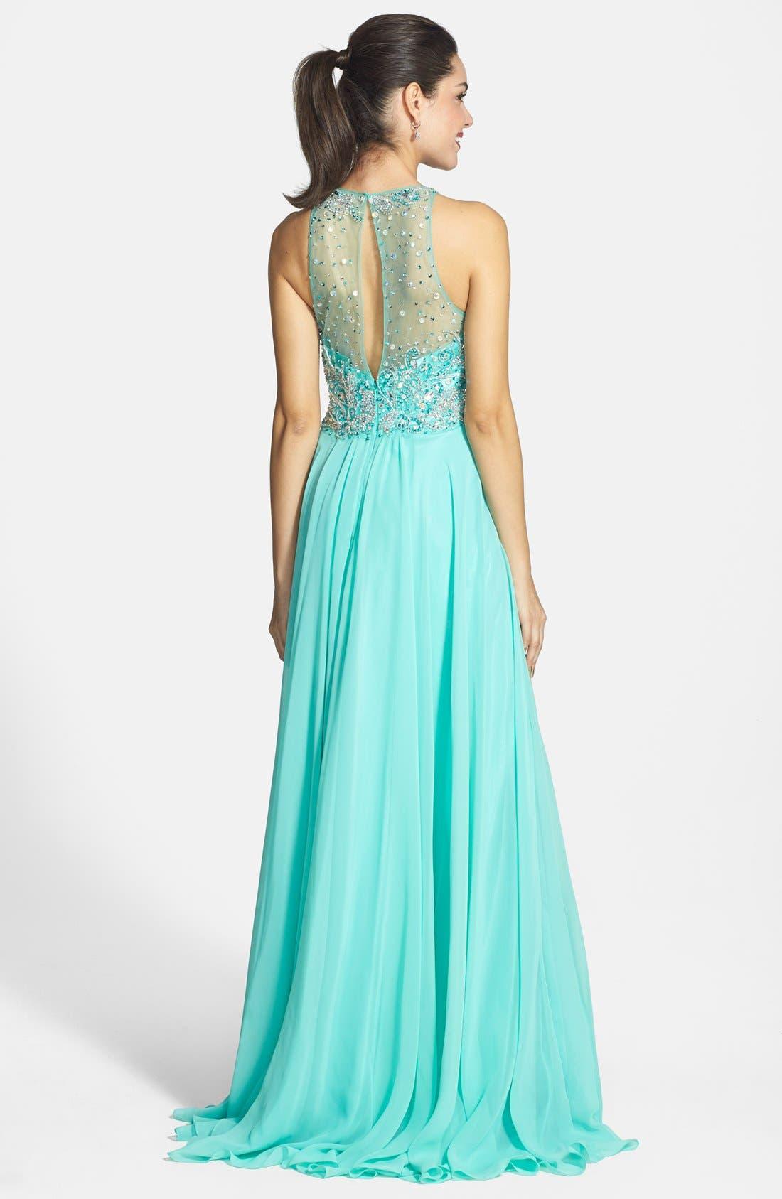 Alternate Image 2  - Faviana Embellished Chiffon Gown
