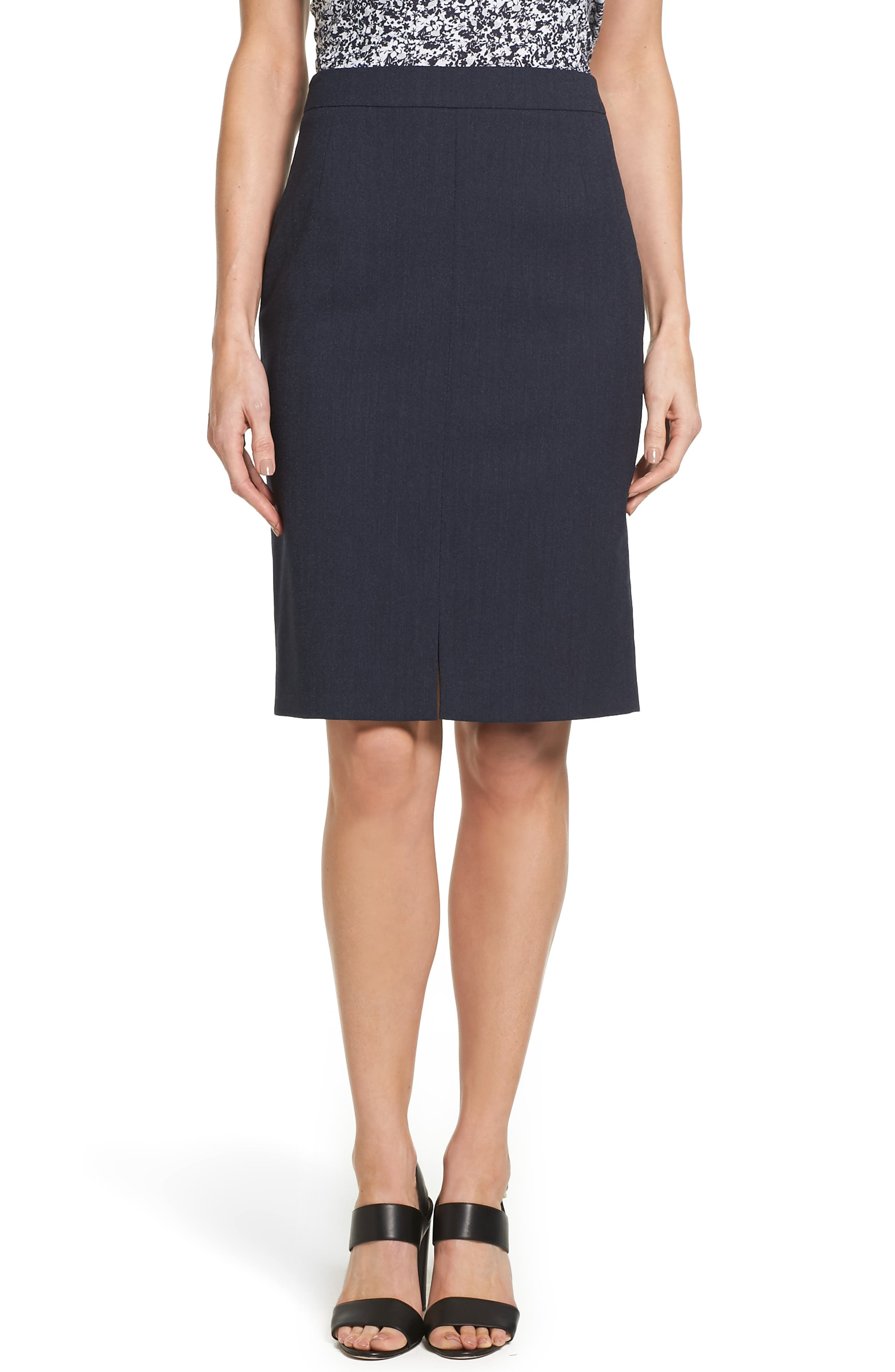 BOSS Valesana Stretch Wool Pencil Skirt