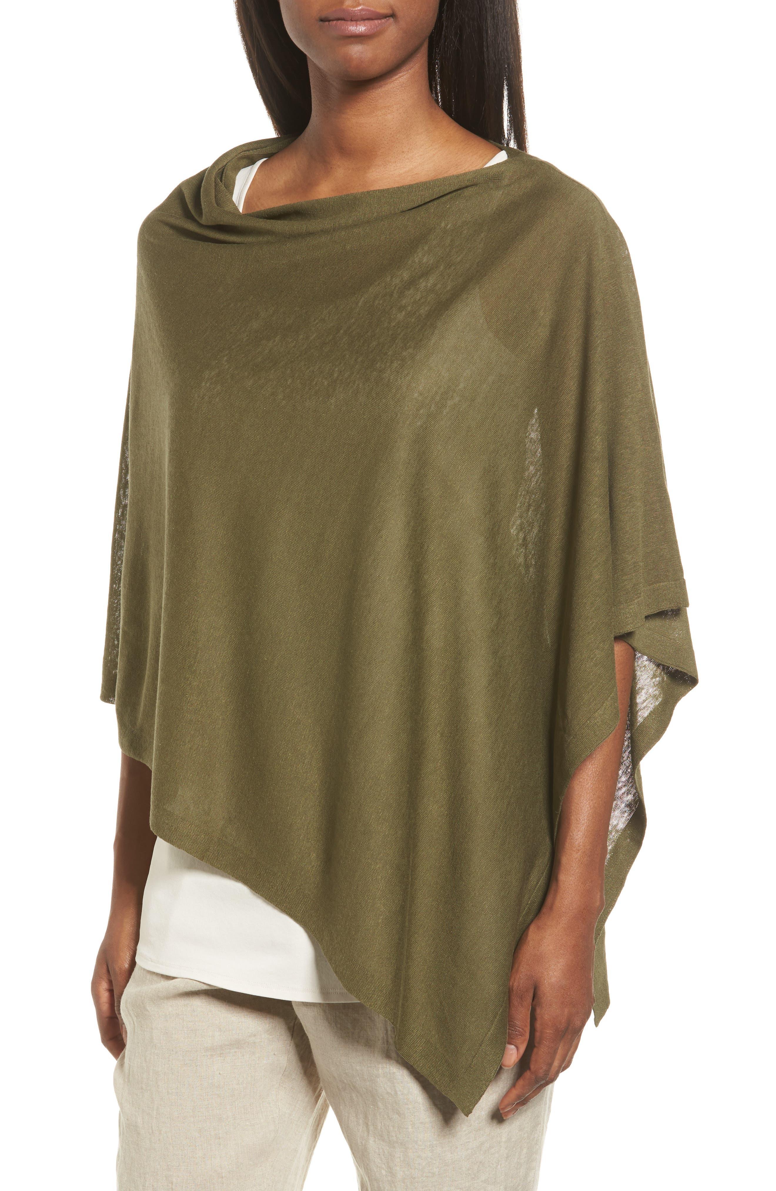 Eileen Fisher Silk & Organic Linen Poncho (Regular & Petite)