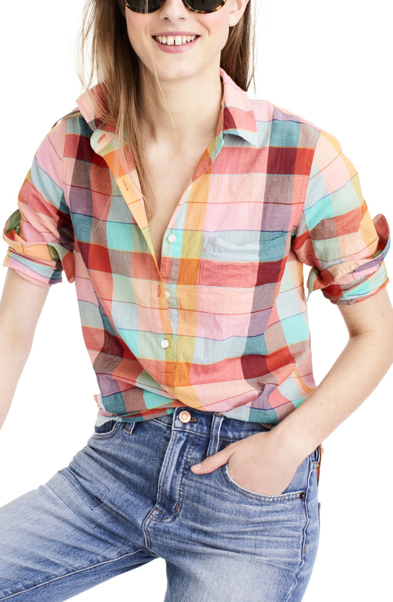 Main Image - J.Crew Rainbow Vintage Plaid Lightweight Popover Shirt (Regular & Petite)