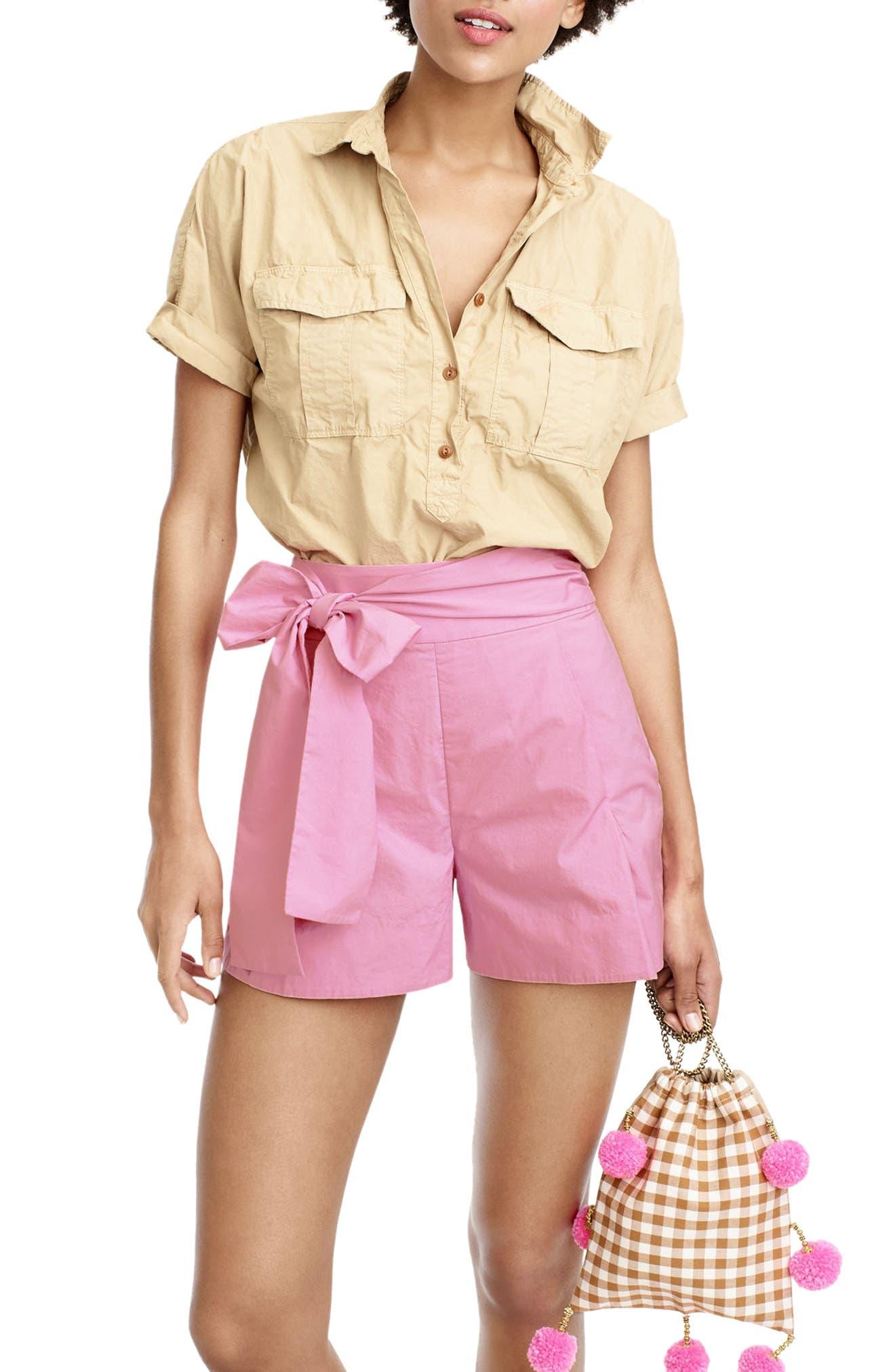 Alternate Image 1 Selected - J.Crew Cotton Poplin Tie Waist Shorts