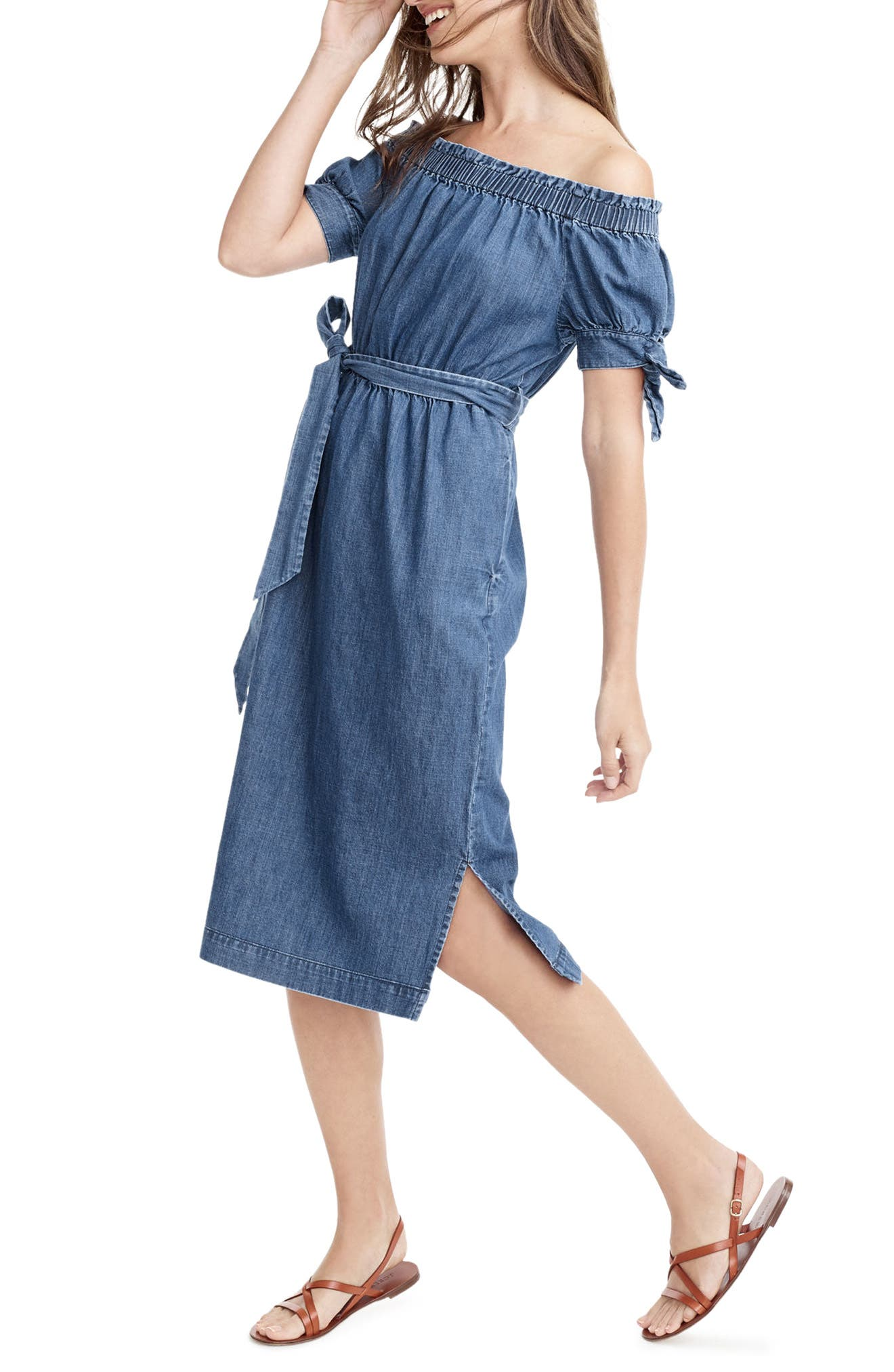 Alternate Image 2  - J.Crew Tie Waist Chambray Off the Shoulder Dress