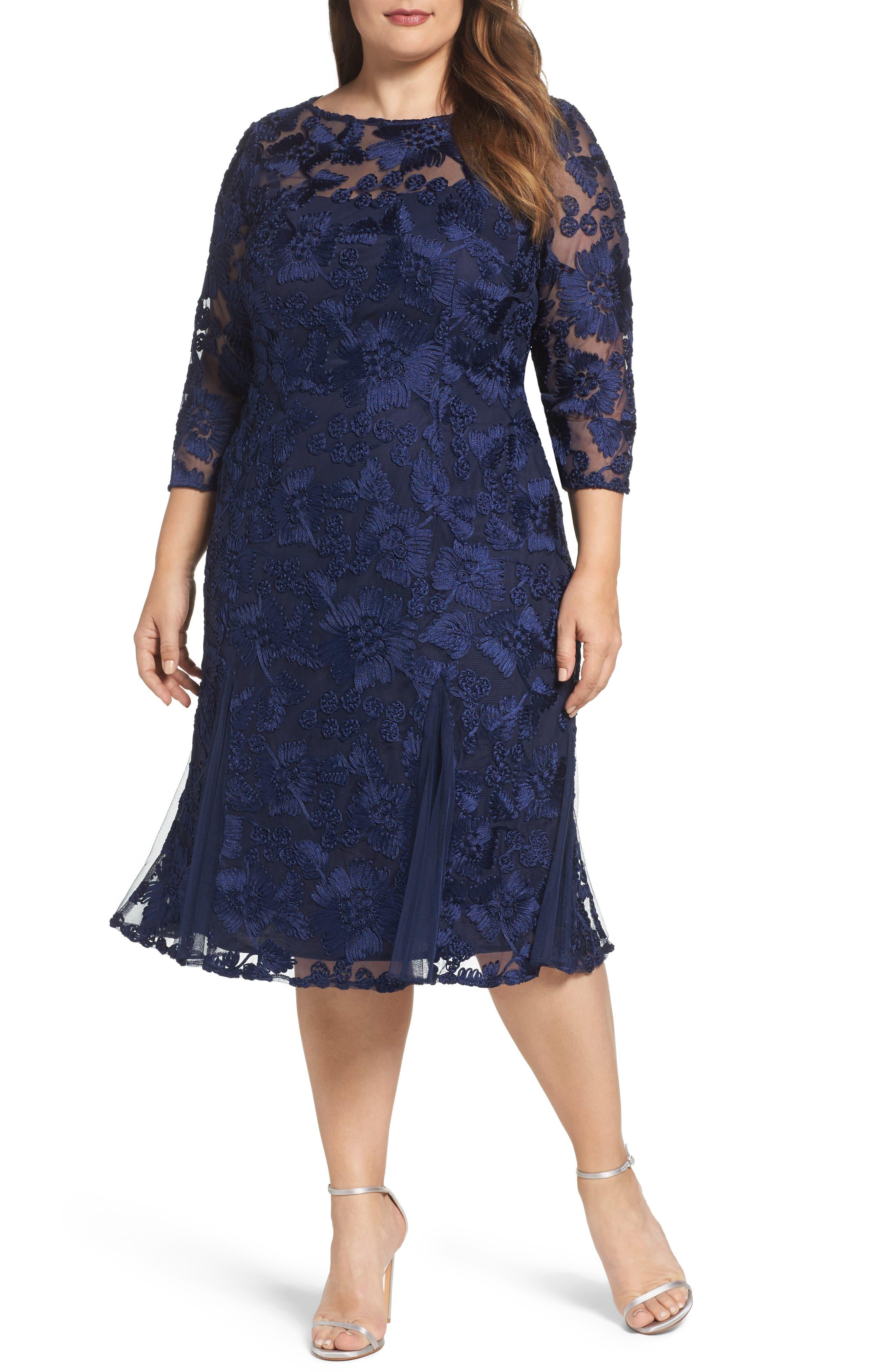 Alex Evenings Lace Midi Dress (Plus Size)