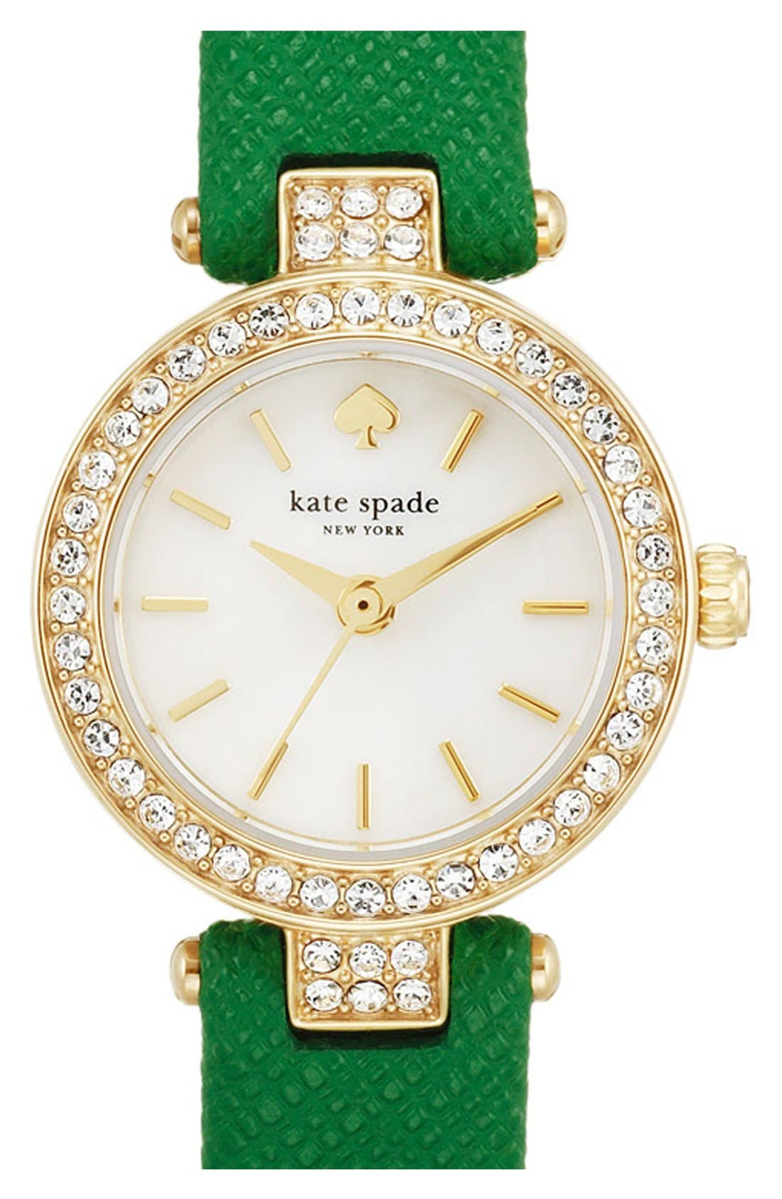 Main Image - kate spade new york 'tiny metro' crystal bezel leather strap watch, 20mm
