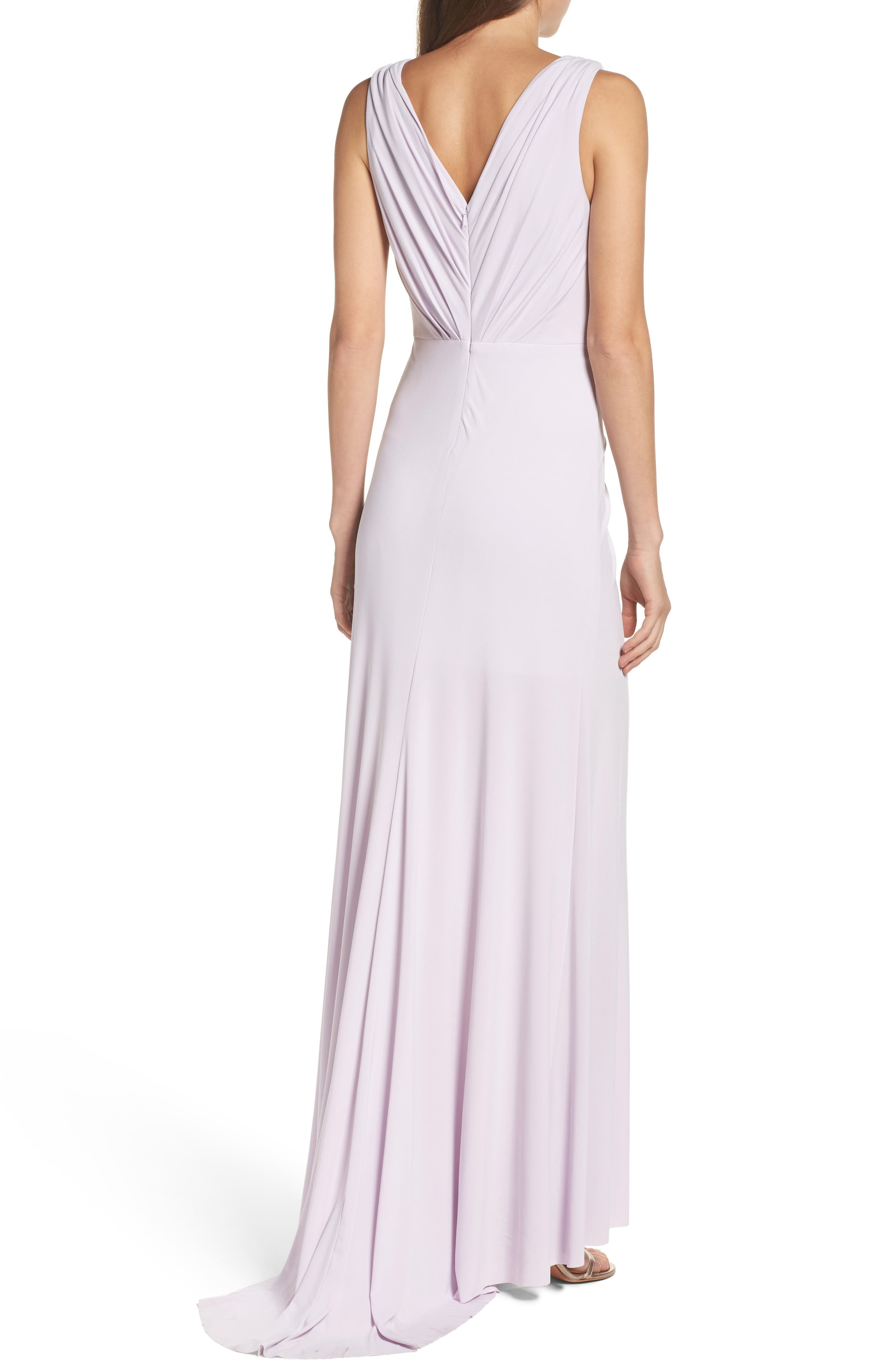 Alternate Image 2  - Vera Wang Jersey Pleated Fit & Flare Gown