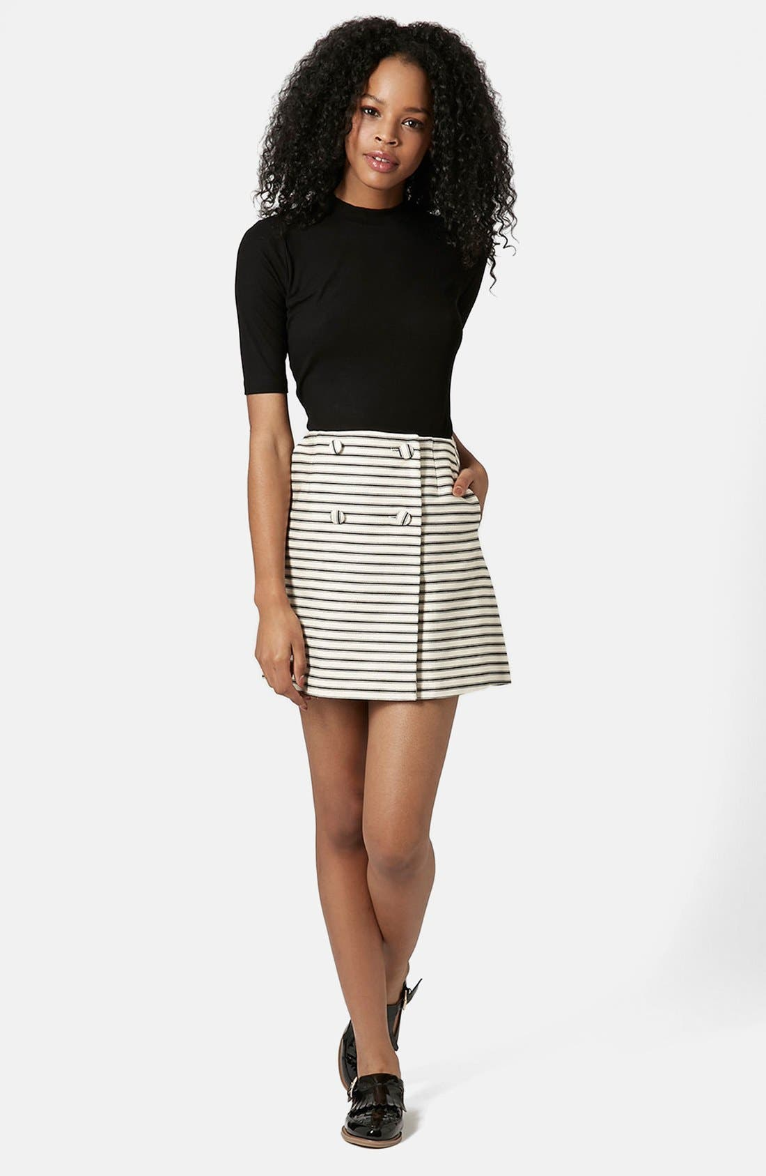 Alternate Image 5  - Topshop Stripe Button Wrap Skirt