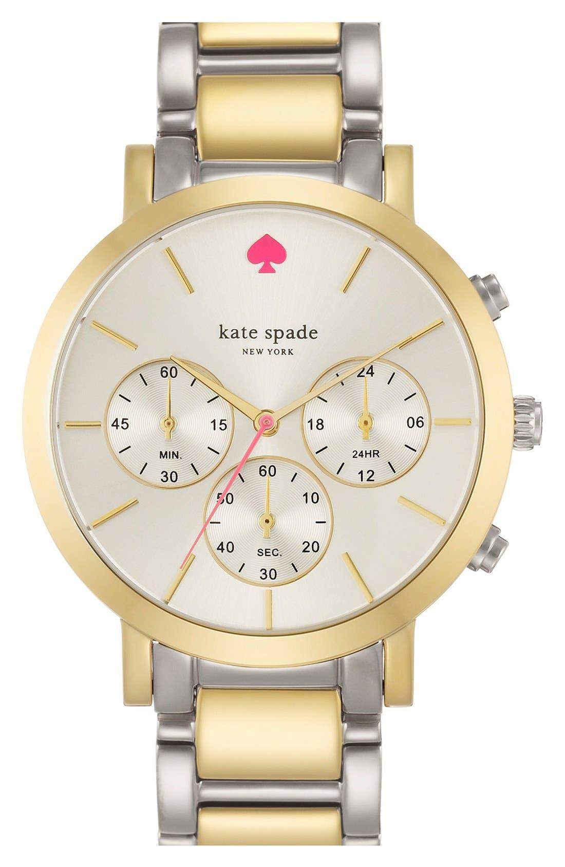 Main Image - kate spade new york 'gramercy grand' chronograph bracelet watch, 38mm