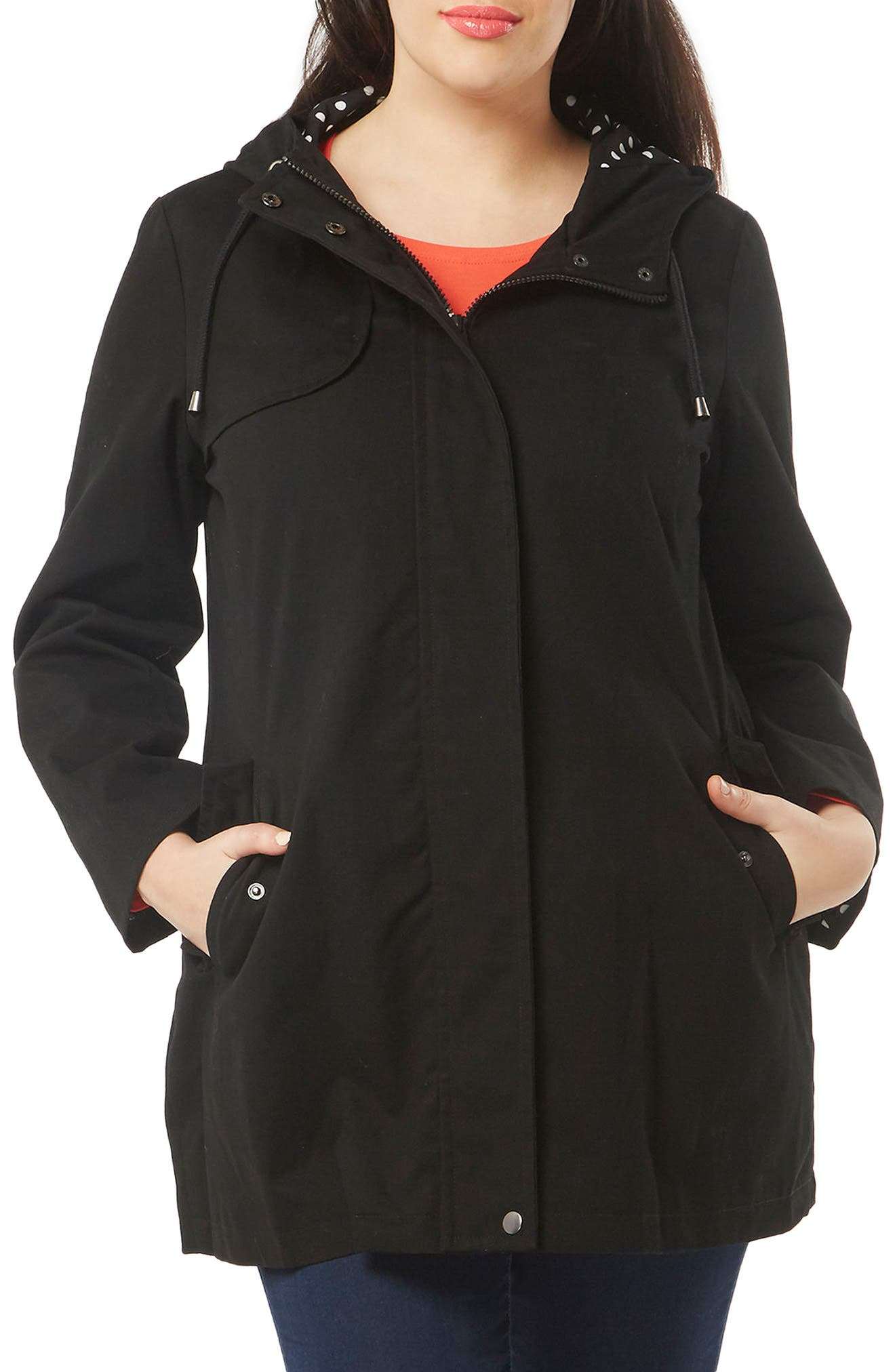 Evans Hooded A-Line Raincoat (Plus Size)