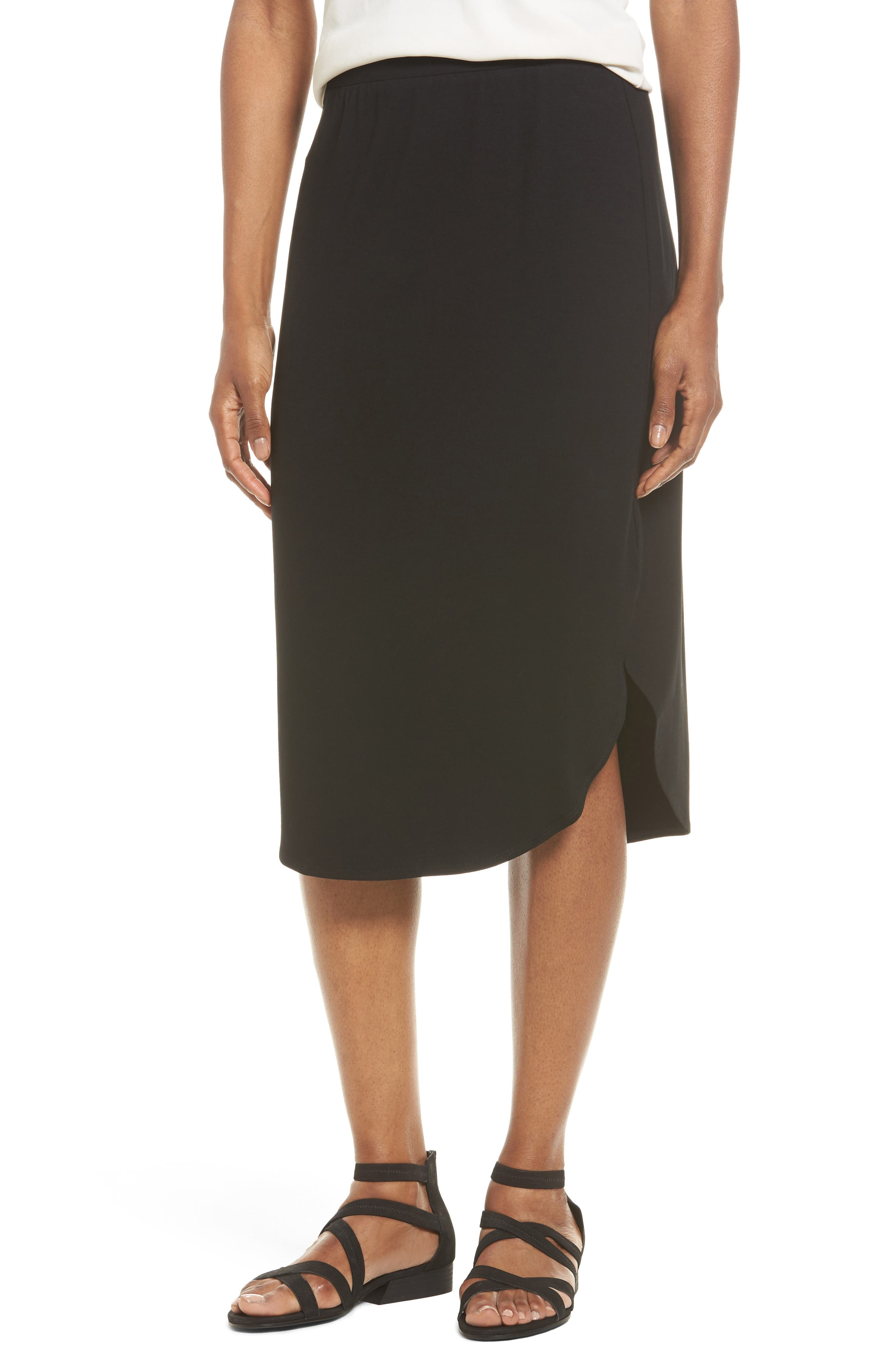 Eileen Fisher Jersey Shirttail Hem Skirt (Regular & Petite)