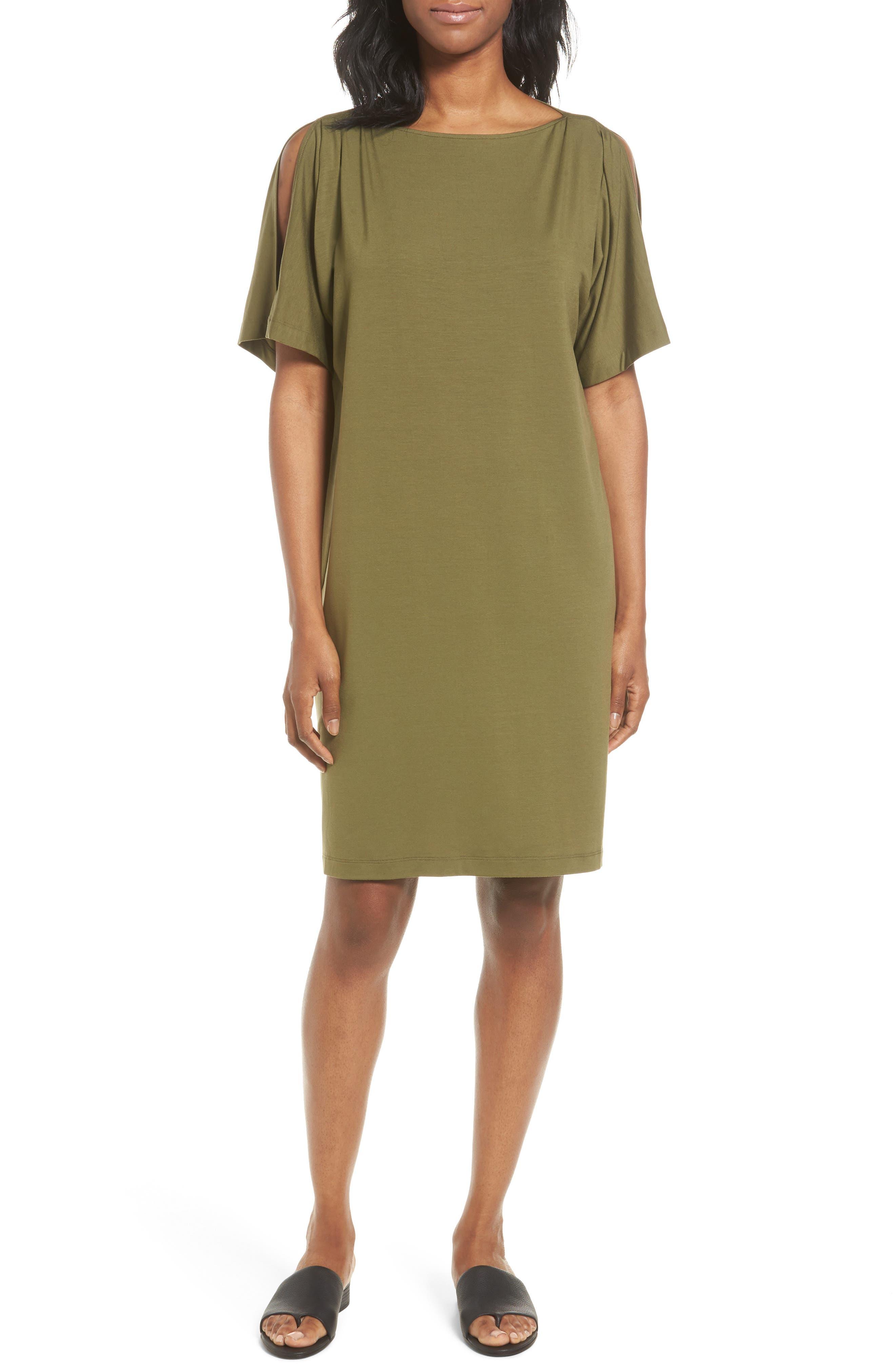Eileen Fisher Slit Sleeve Kimono Dress (Regular & Petite)