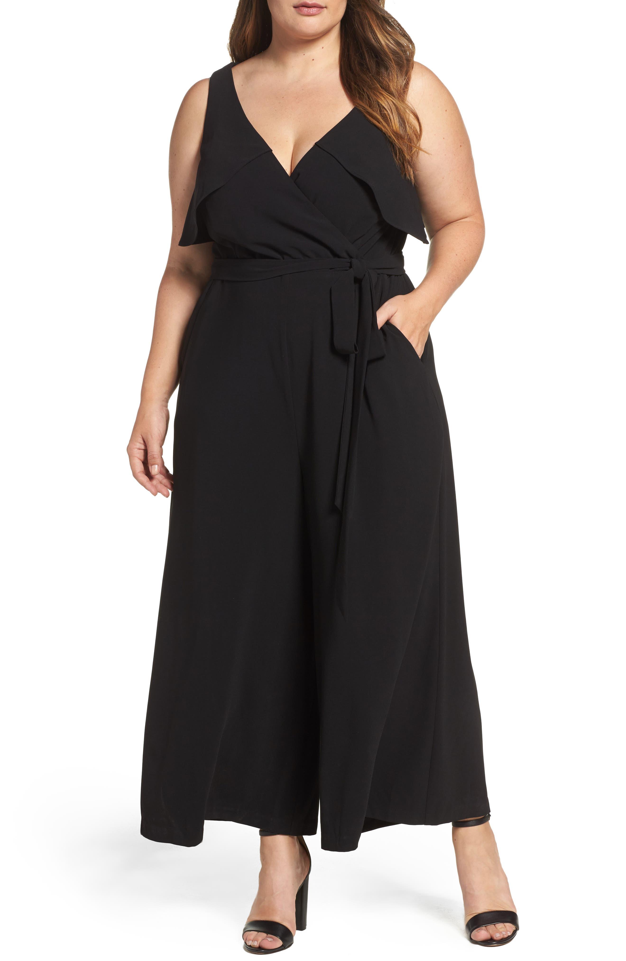 Gabby Skye Crepe Capelet Jumpsuit (Plus Size)