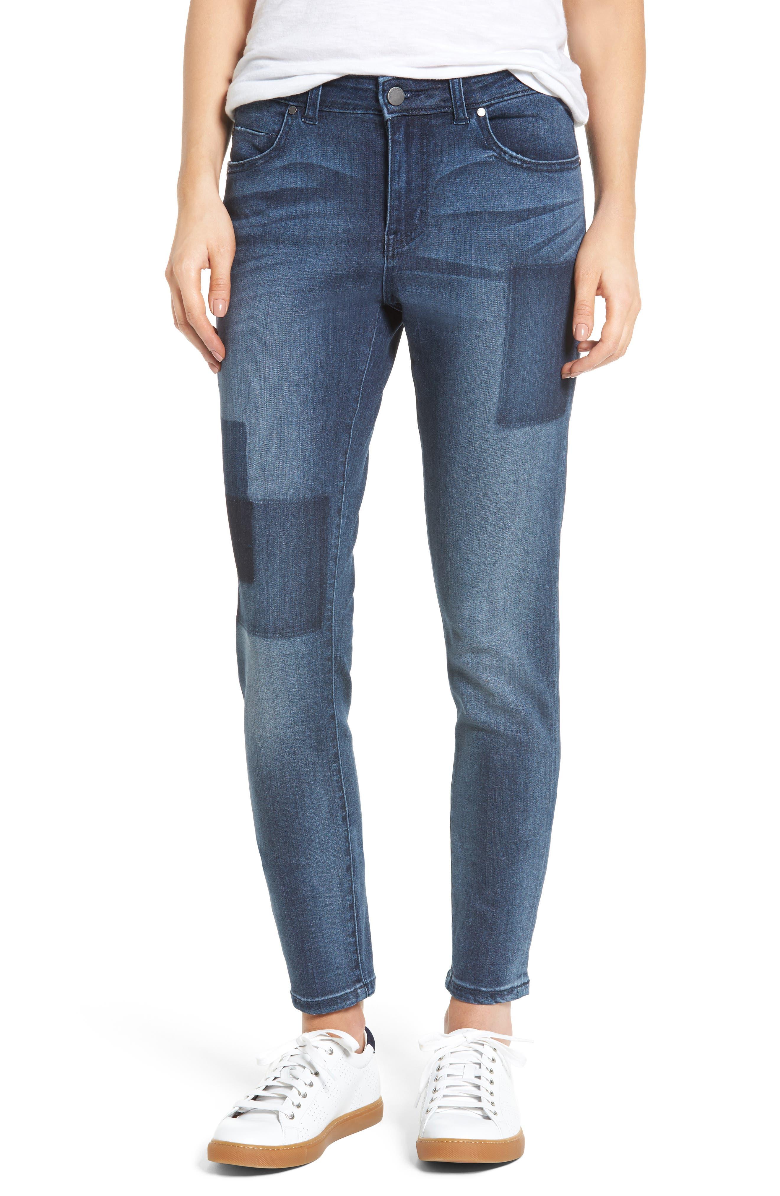 Caslon® Patchwork Skinny Jeans (Regular & Petite)