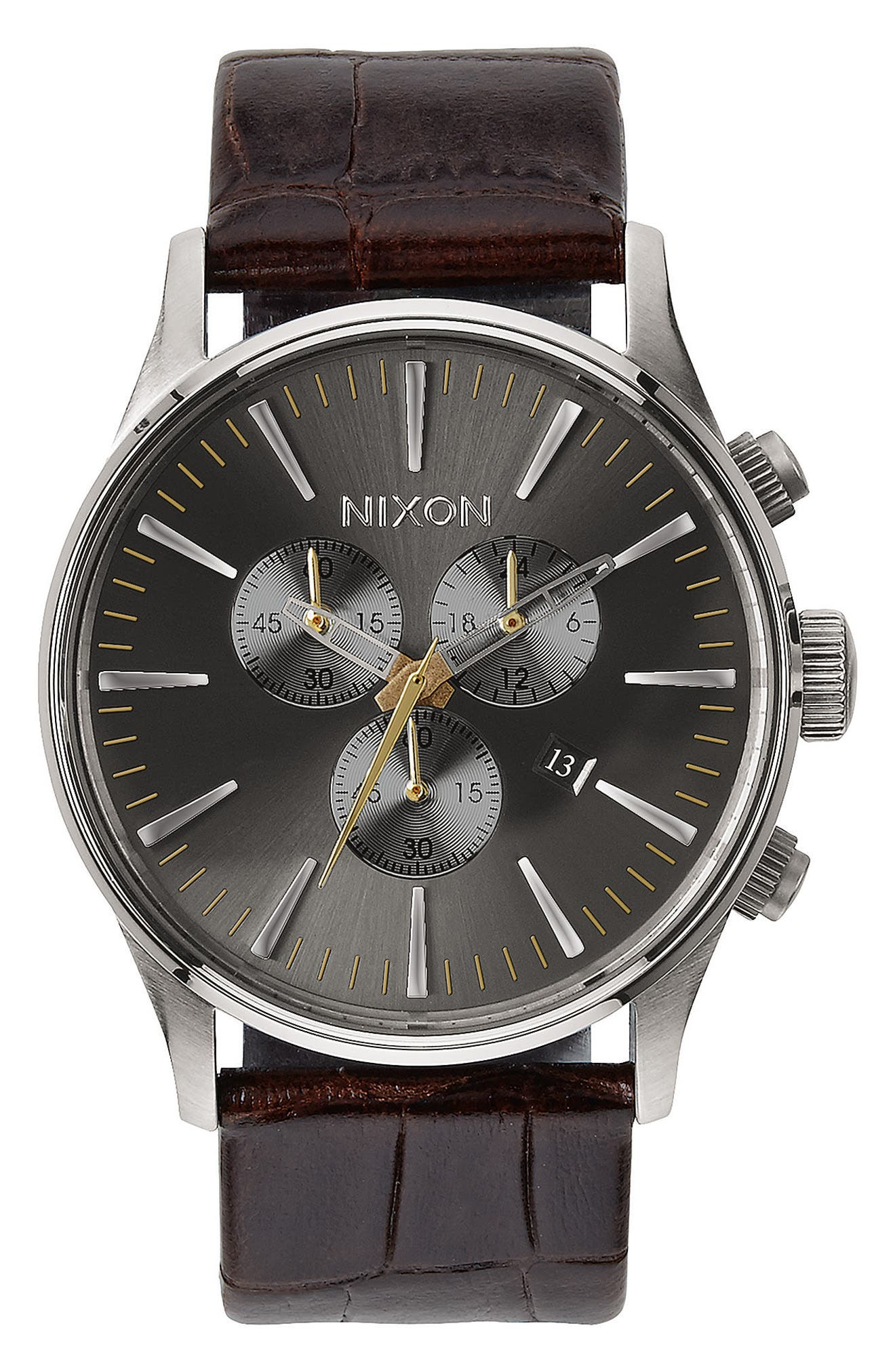 Nixon 'Sentry Chrono' Embossed Leather Strap Watch, 42mm