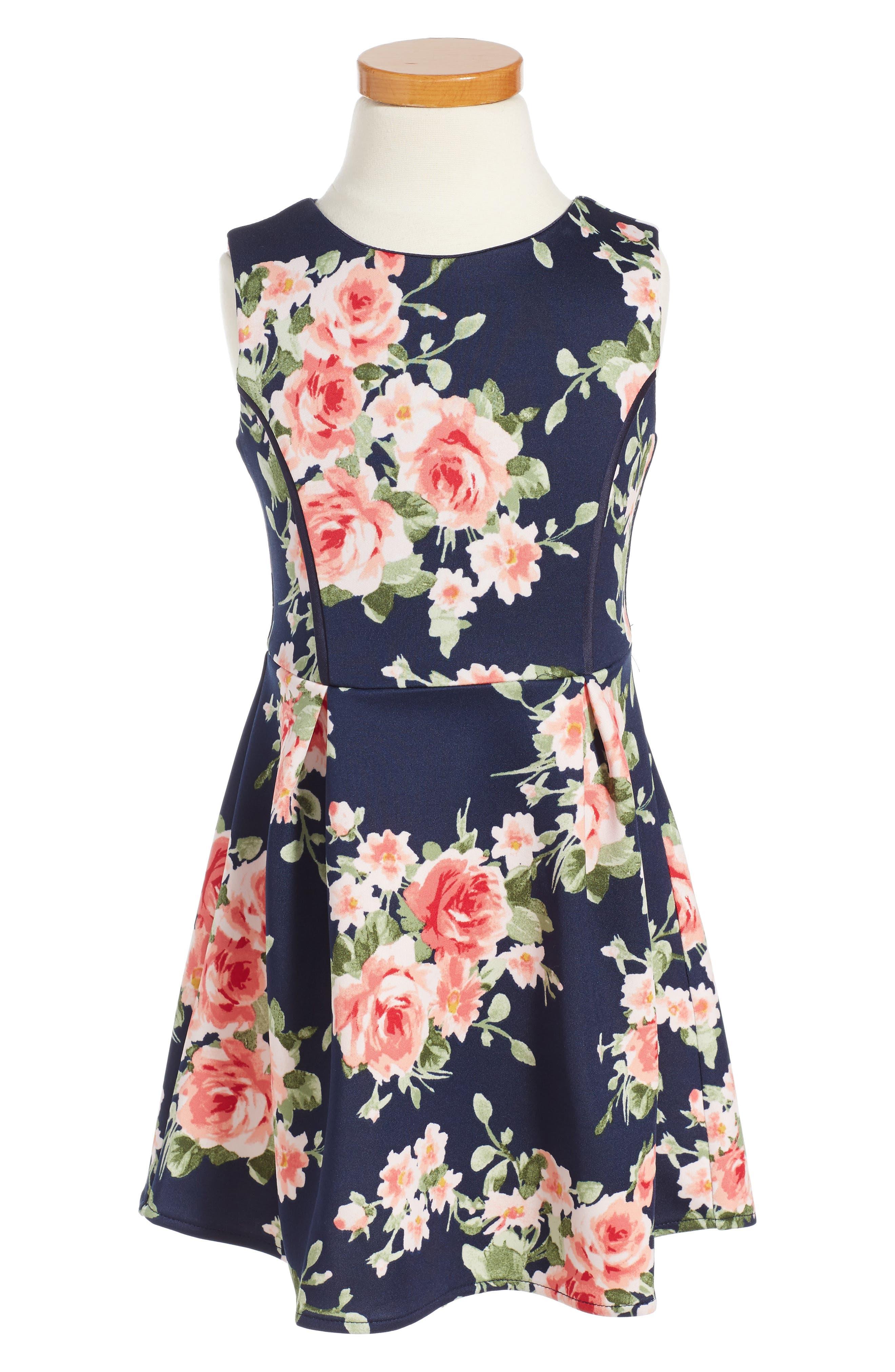 Monteau Couture Floral Dress (Little Girls)
