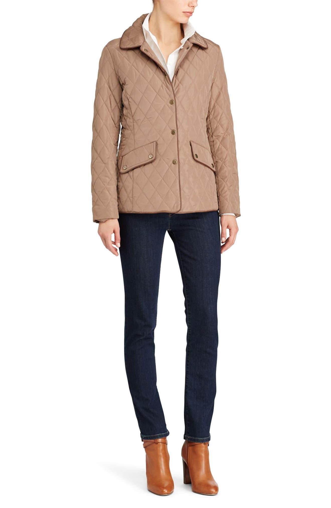 Alternate Image 2  - Lauren Ralph Lauren Faux Leather Trim Quilted Jacket (Regular & Petite)