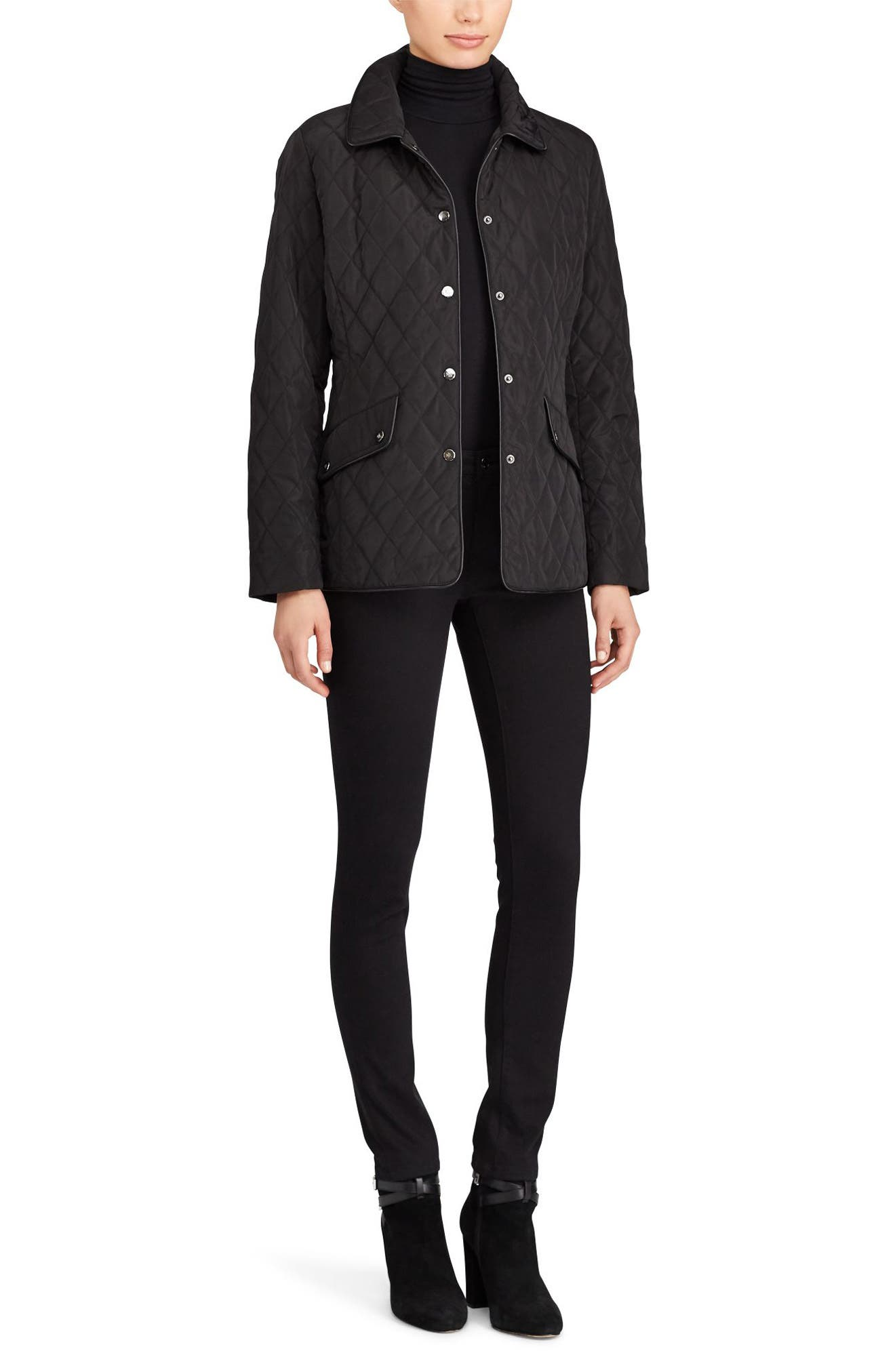 Alternate Image 2  - Lauren Ralph Lauren Faux Leather Trim Quilted Jacket (Regular & Petite)