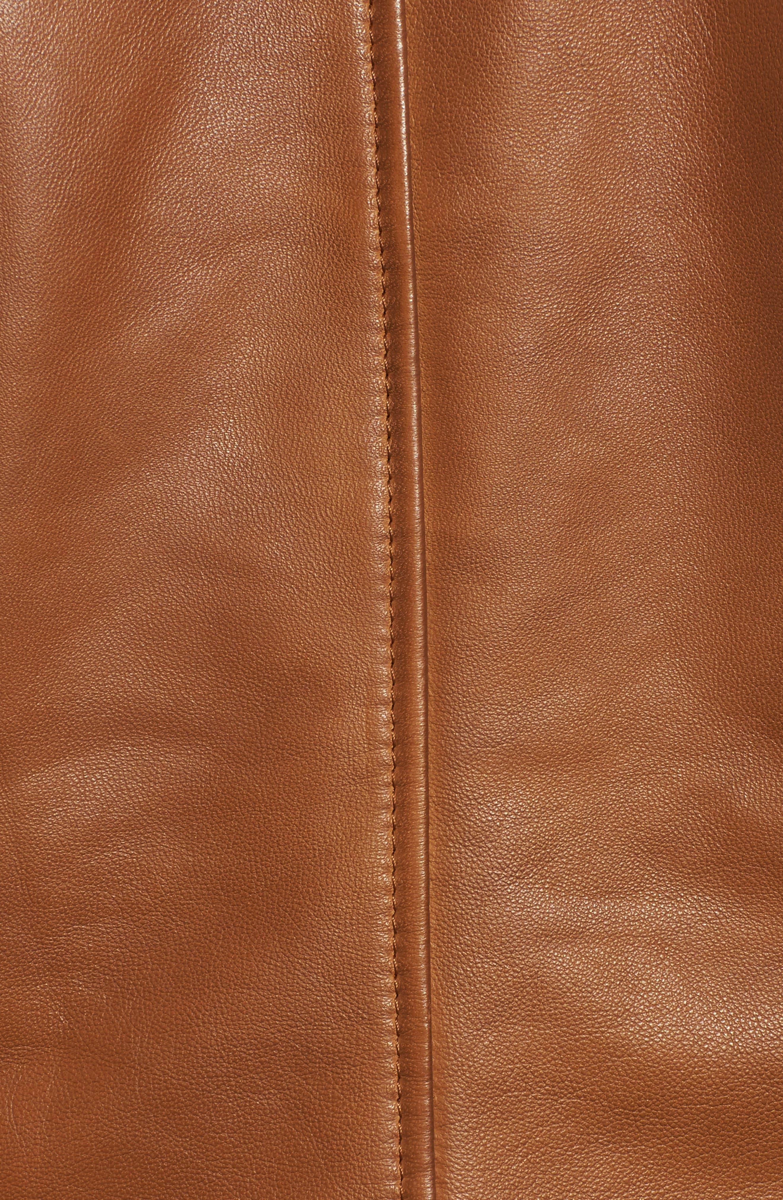 Alternate Image 5  - Halogen® Leather Moto Jacket (Regular & Petite)