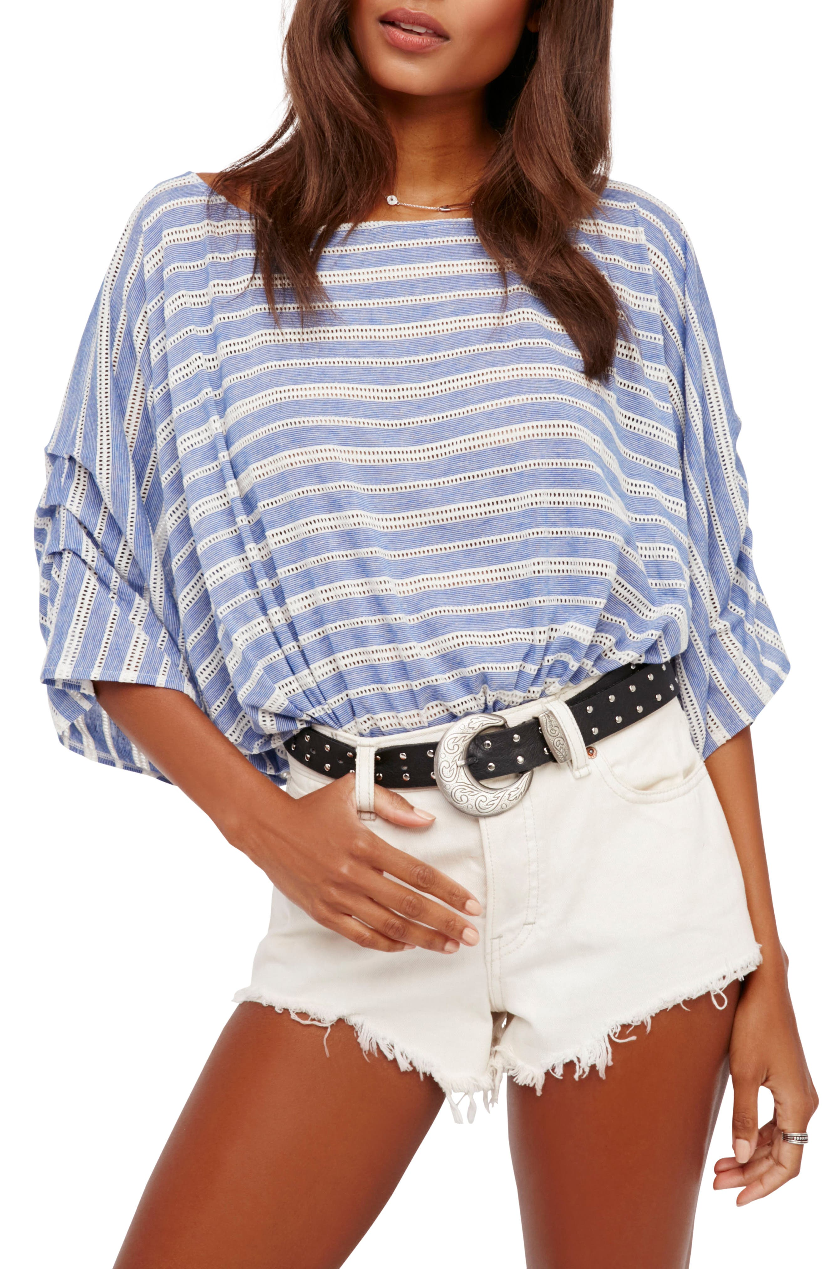 Free People Azelea Crochet & Stripe Top