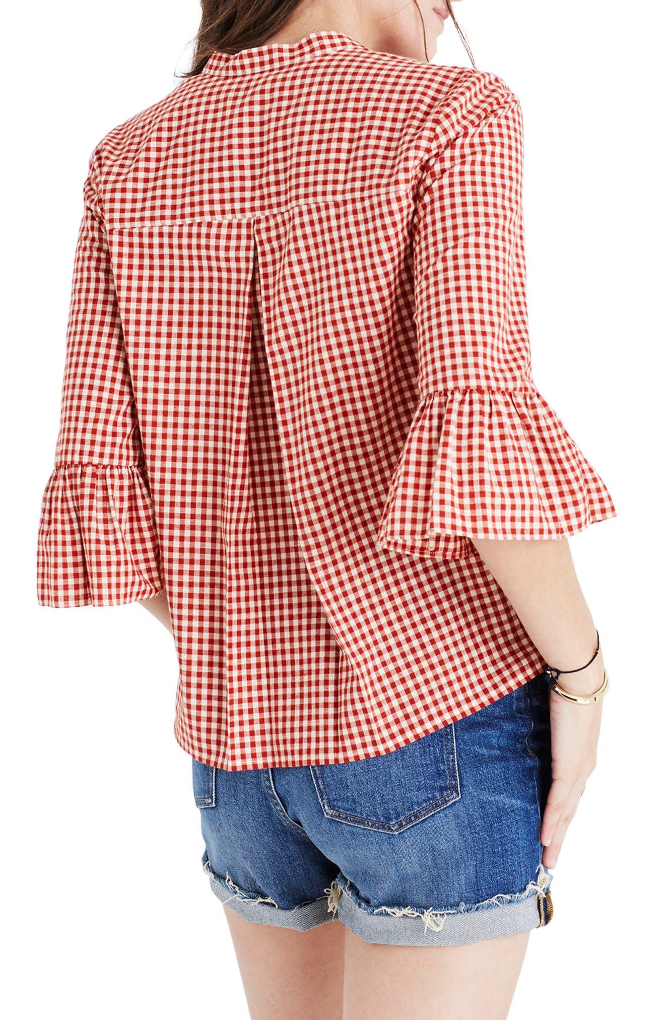 Alternate Image 2  - Madewell Gingham Bell Sleeve Shirt