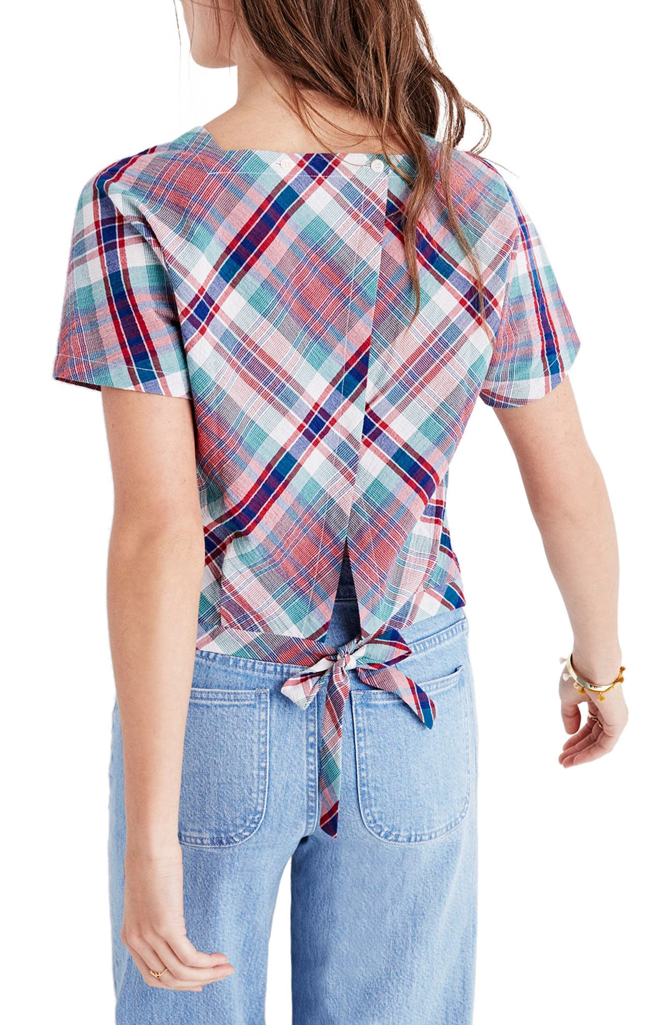 Alternate Image 2  - Madewell Plaid Tie Back Top
