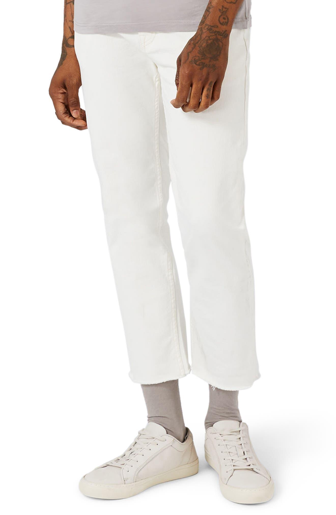 Topman Standard Straight Leg Cutoff Jeans