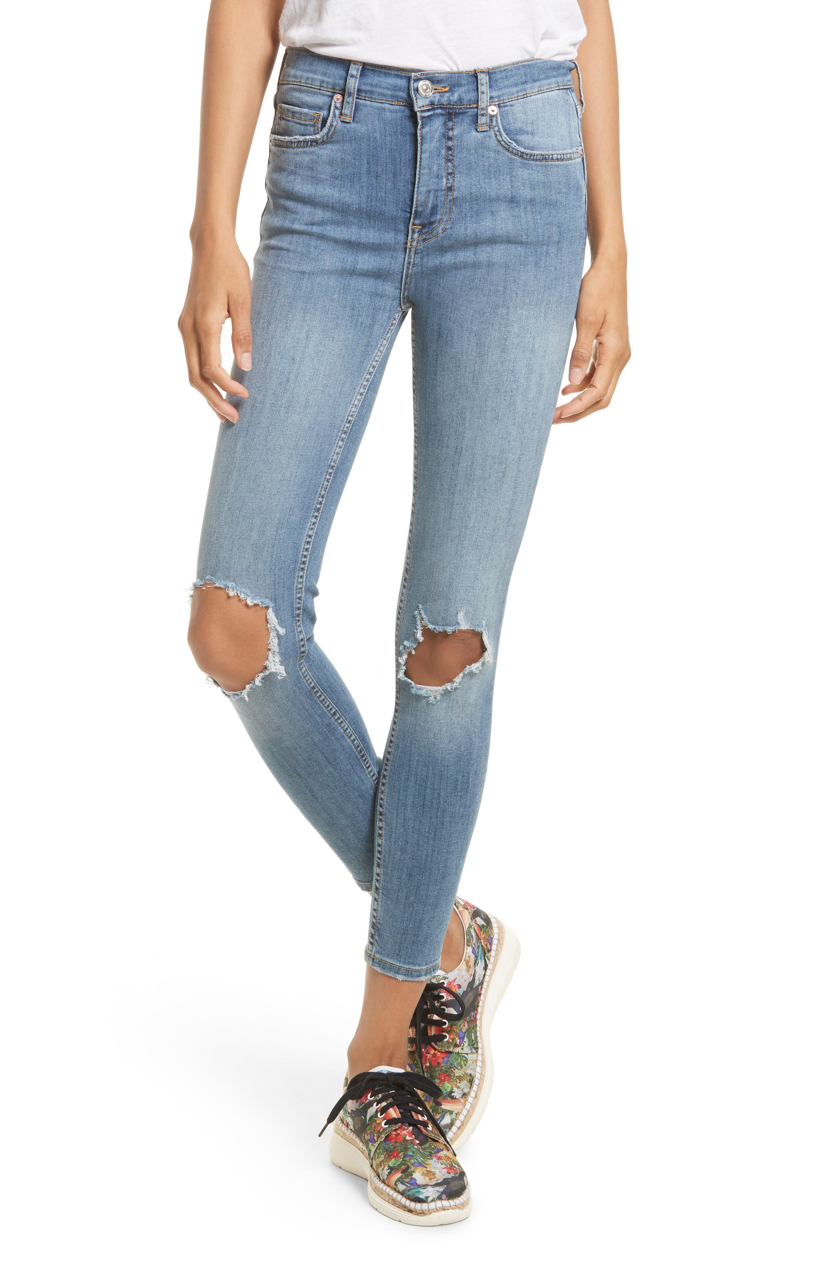 Free People High Rise Busted Knee Skinny Jeans (Light Denim)