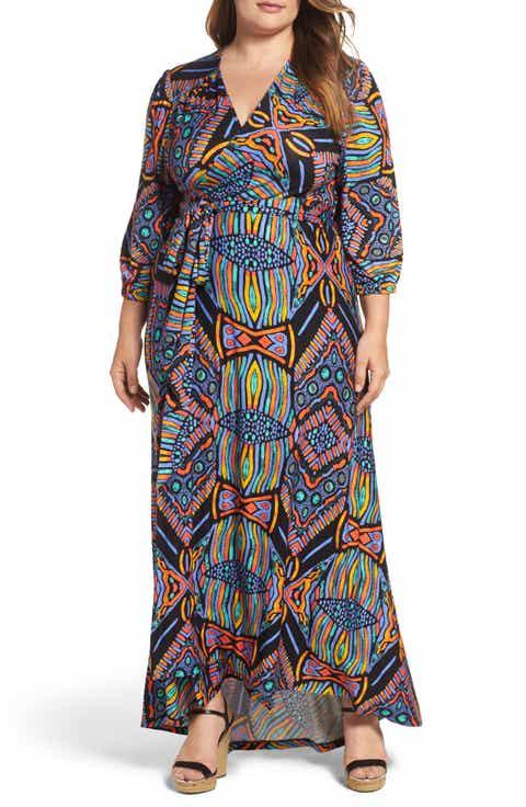 Melissa McCarthy Seven7 Print Shirred Empire Maxi Dress (Plus Size)