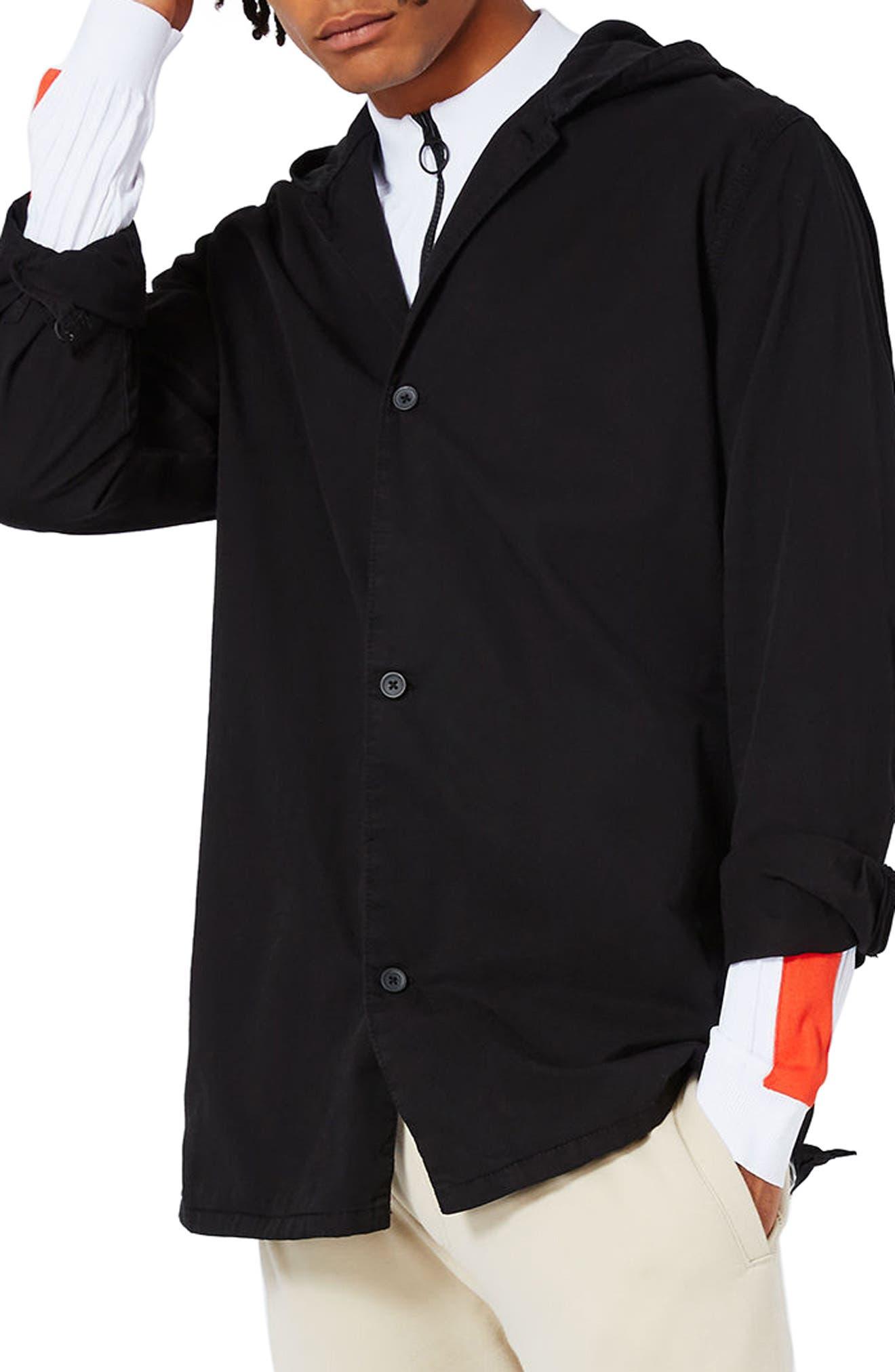 Topman Hooded Overshirt Jacket