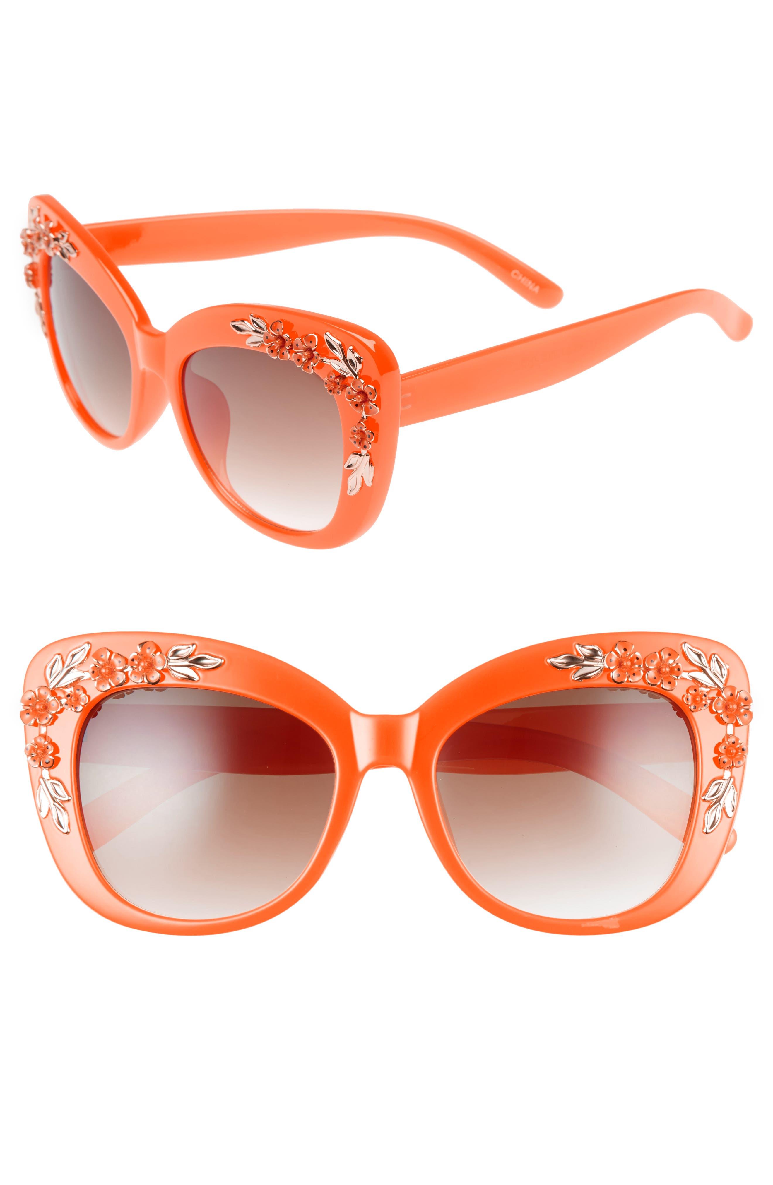 Leith 58mm Floral & Leaf Embellished Cat Eye Sunglasses