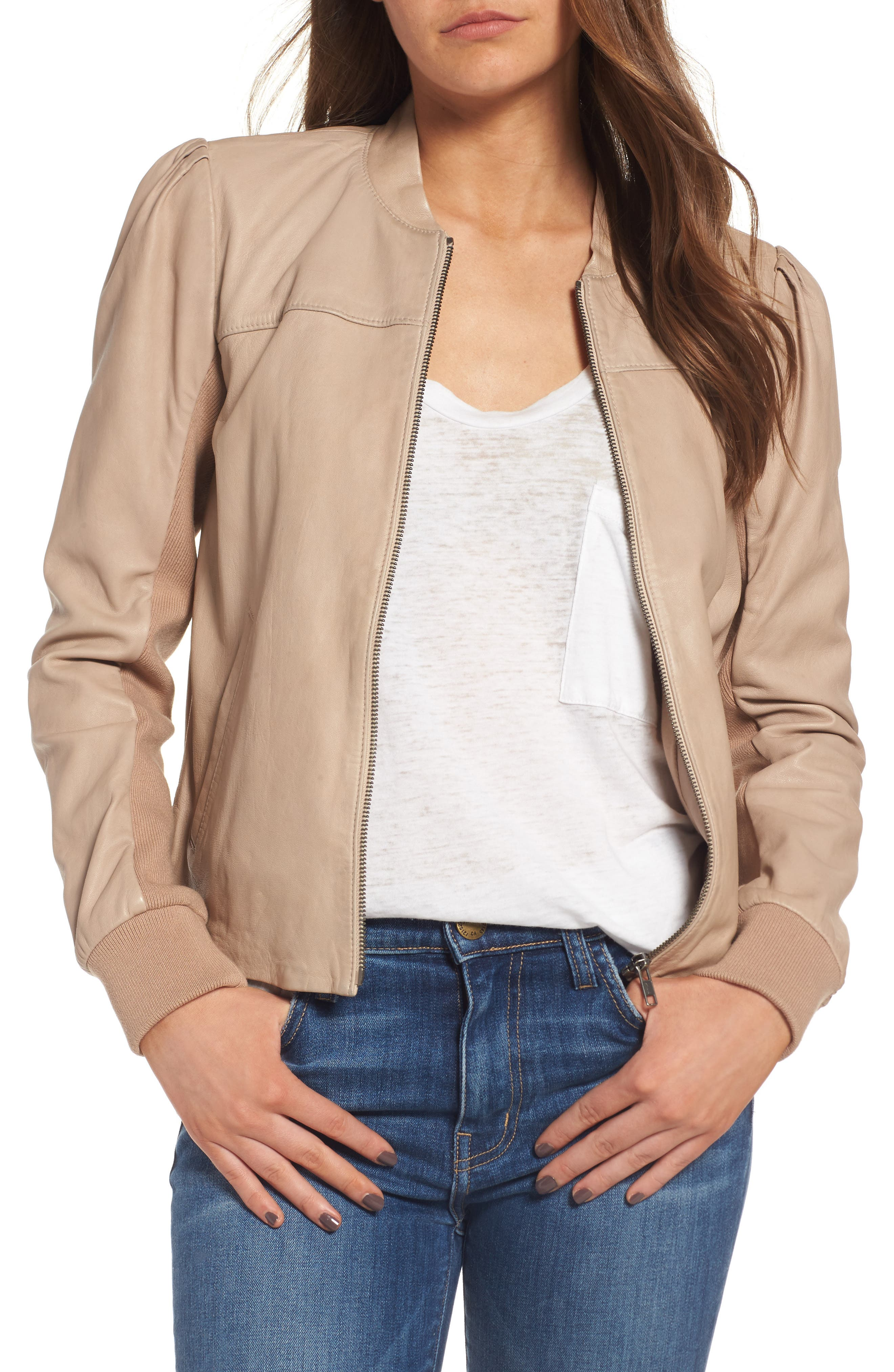 Hinge Shrunken Leather Bomber Jacket