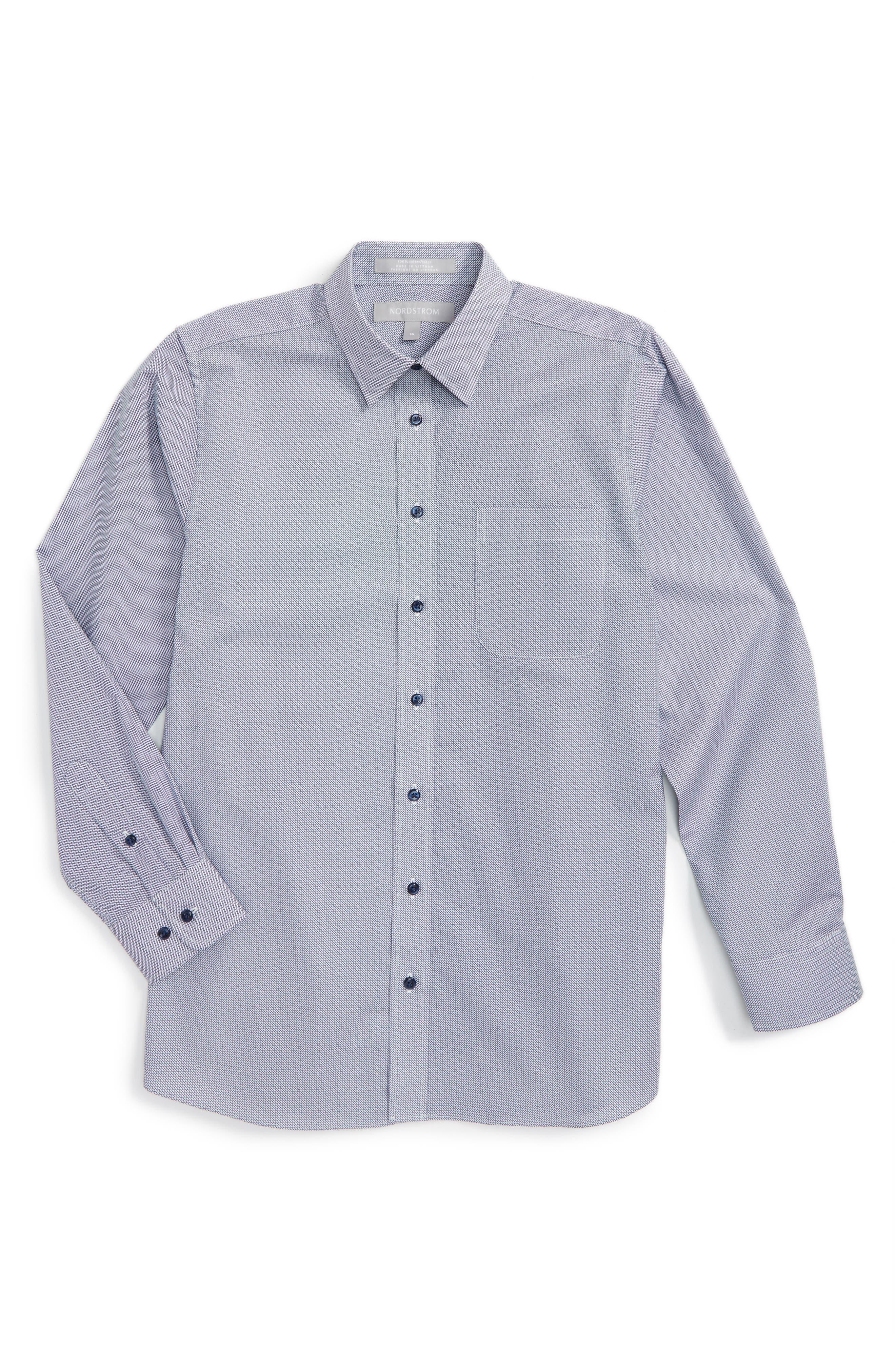 Nordstrom Neat Cotton Poplin Dress Shirt (Big Boys)