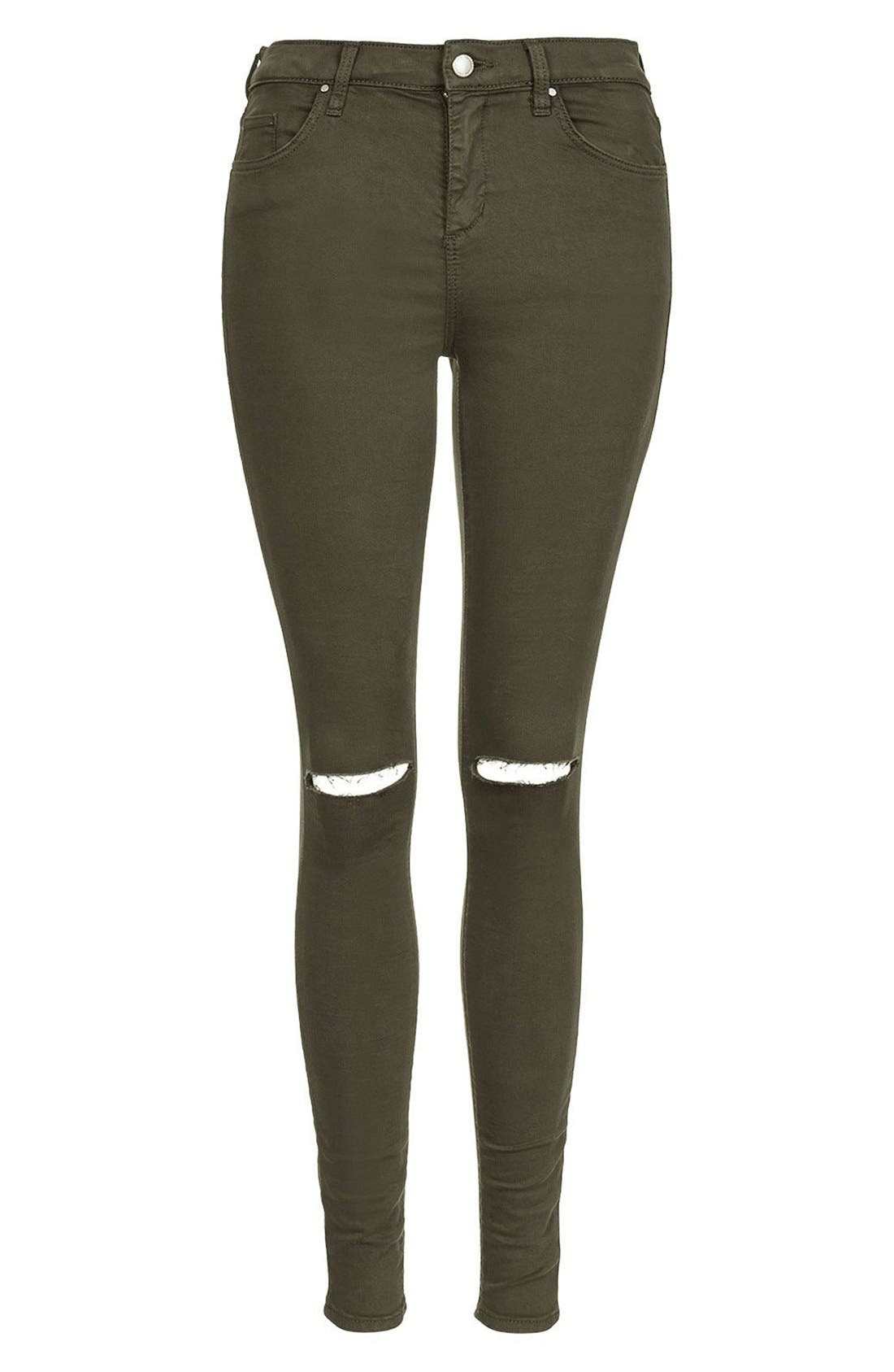 Alternate Image 3  - Topshop Moto 'Leigh' Ripped Skinny Jeans (Olive) Short