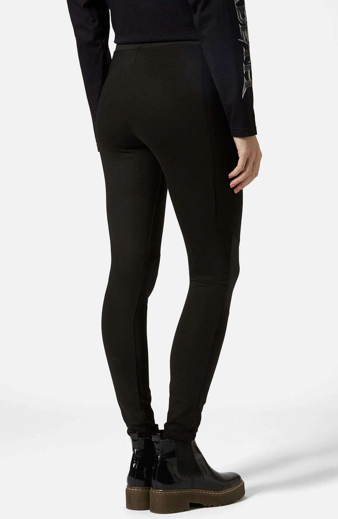 Alternate Image 2  - Topshop Biker Knee Ponte Leggings