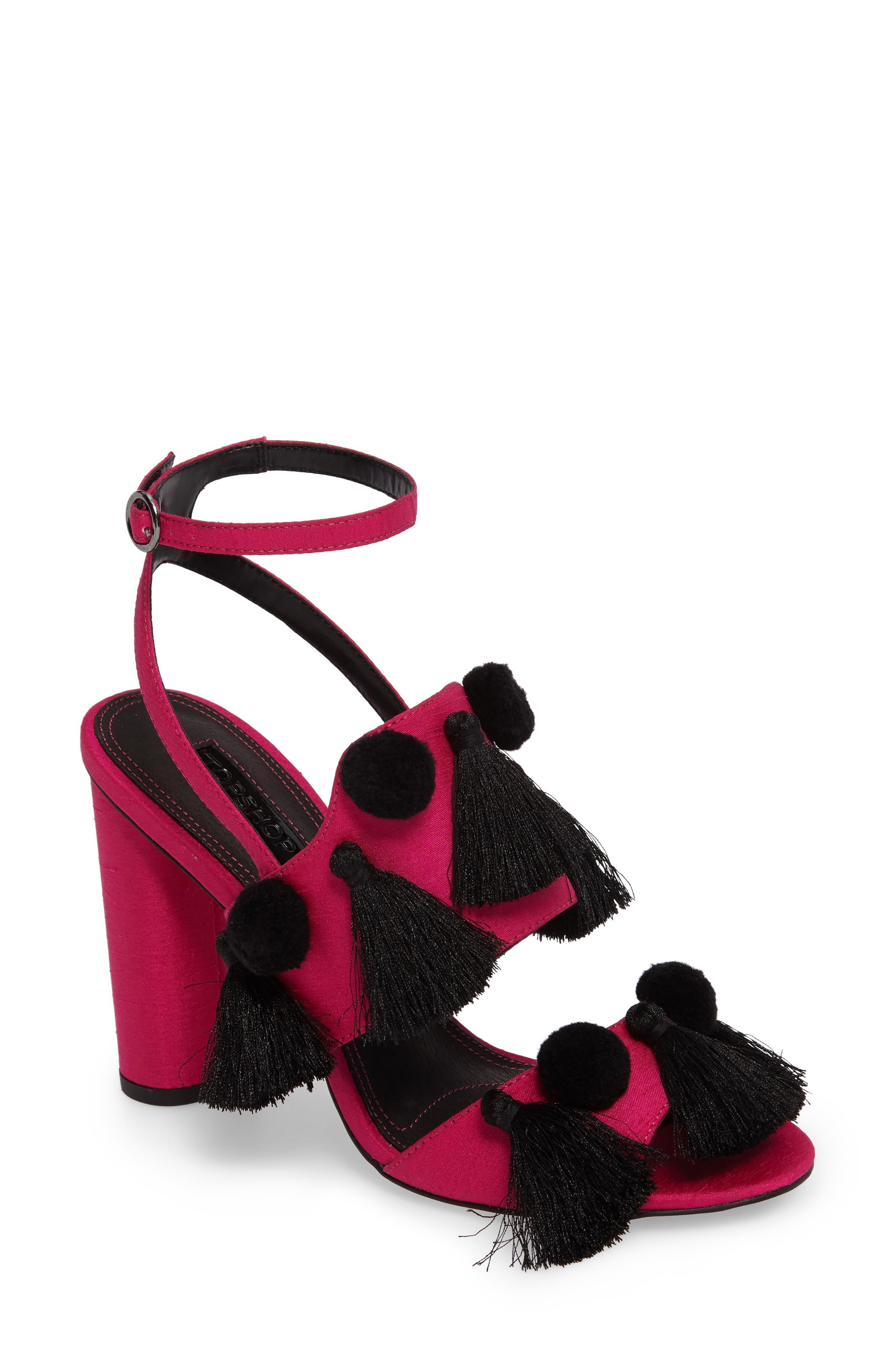 Topshop Rave Tasseled Pom Sandal (Women)