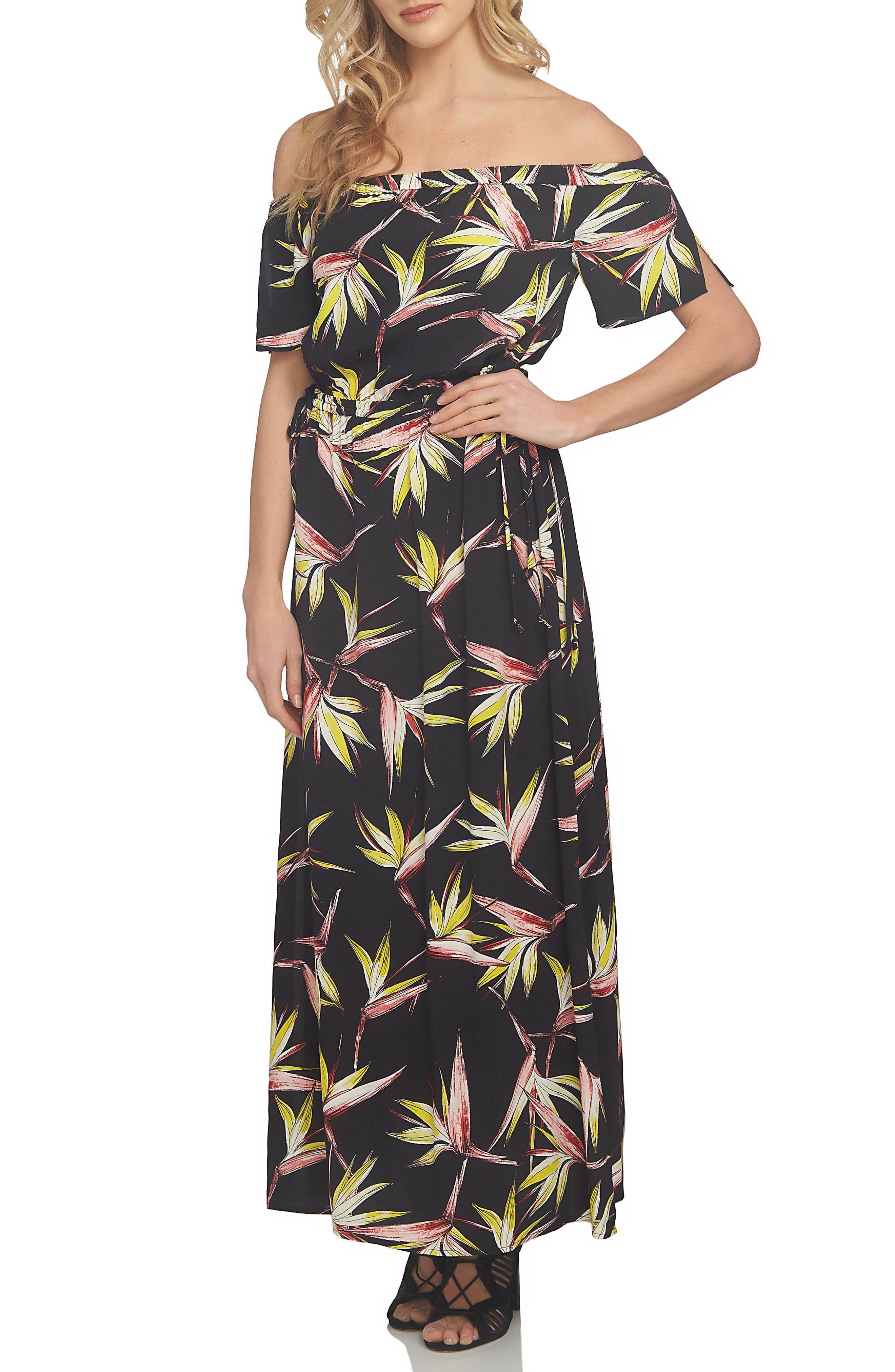 1.STATE Off the Shoulder Blouson Maxi Dress