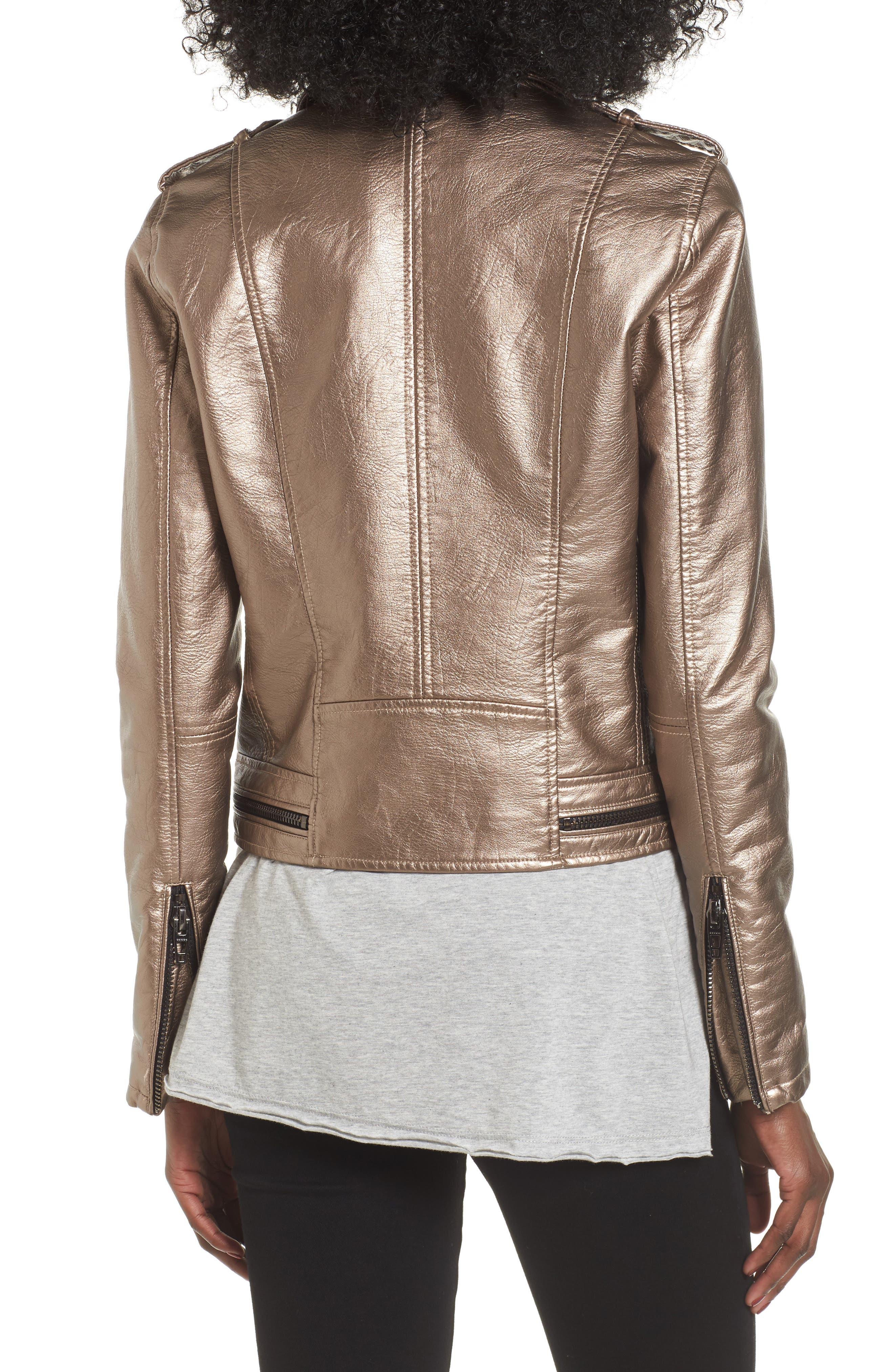 Alternate Image 2  - BLANKNYC Metallic Faux Leather Moto Jacket